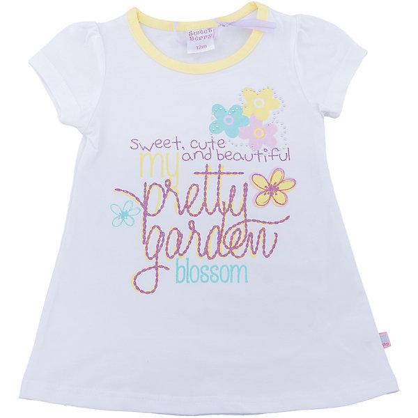 Футболка для девочки Sweet BerryФутболки, топы<br>Модная, хлопковая футболка для девочки свободного кроя. Декорирована ярким принтом.<br>Состав:<br>95%хлопок 5%эластан<br><br>Ширина мм: 199<br>Глубина мм: 10<br>Высота мм: 161<br>Вес г: 151<br>Цвет: белый<br>Возраст от месяцев: 12<br>Возраст до месяцев: 15<br>Пол: Женский<br>Возраст: Детский<br>Размер: 80,86,98,92<br>SKU: 5411198