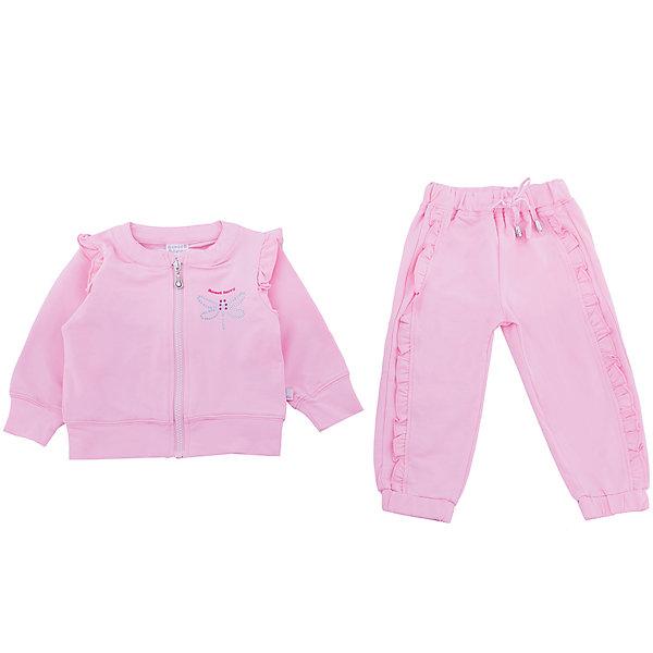 Спортивный костюм для девочки Sweet BerryКомплекты<br>Спортивный трикотажный костюм розового цвета для девочки.  Куртка застегивается на молнию и декорирована стразами. Брюки спортивного стиля с зауженным низом собранные на мягкую резинку. Пояс-резинка дополнен шнуром для регулирования объема.<br>Состав:<br>95%хлопок 5%эластан<br><br>Ширина мм: 247<br>Глубина мм: 16<br>Высота мм: 140<br>Вес г: 225<br>Цвет: розовый<br>Возраст от месяцев: 12<br>Возраст до месяцев: 15<br>Пол: Женский<br>Возраст: Детский<br>Размер: 80,86,98,92<br>SKU: 5411203