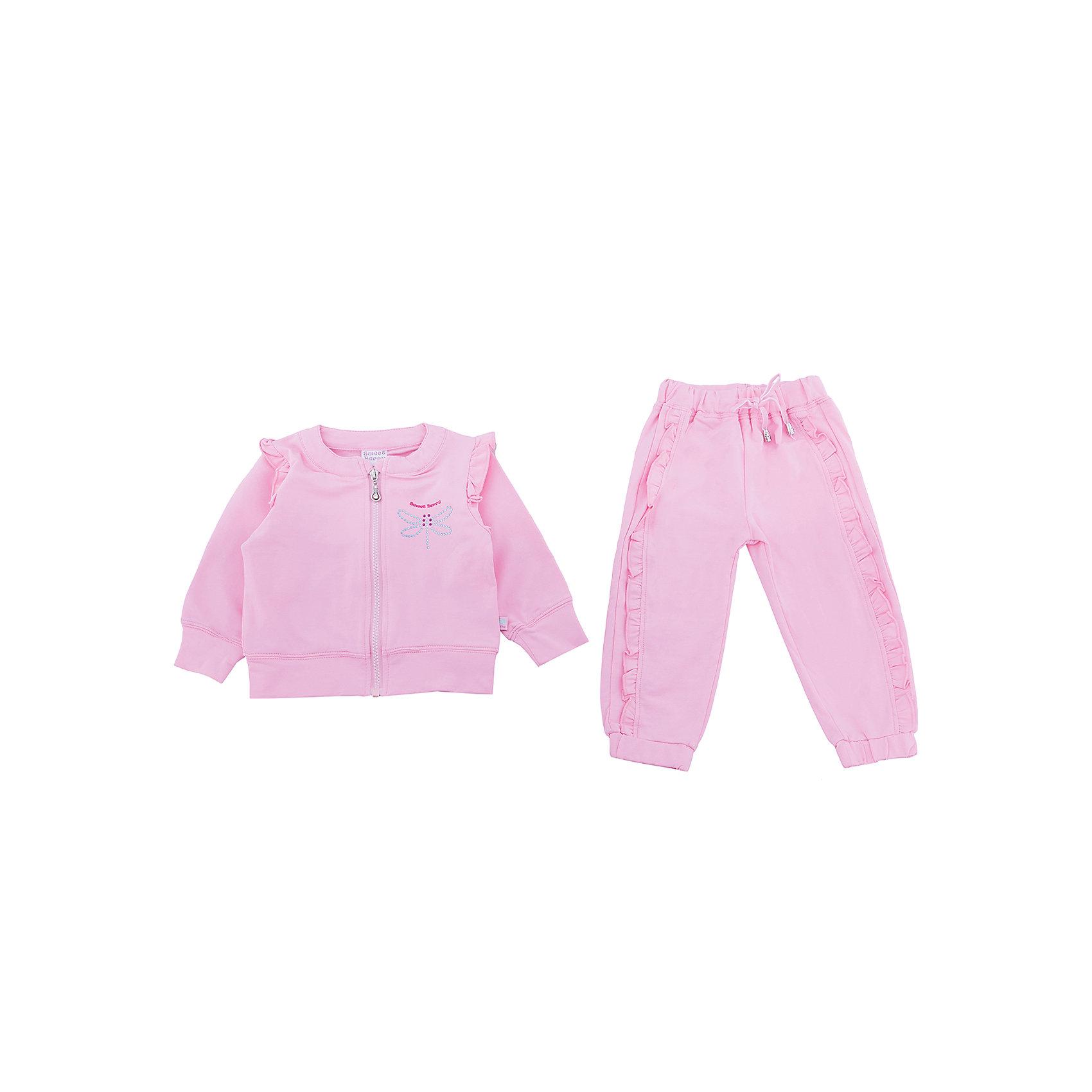 Спортивный костюм для девочки Sweet BerryКомплекты<br>Спортивный трикотажный костюм розового цвета для девочки.  Куртка застегивается на молнию и декорирована стразами. Брюки спортивного стиля с зауженным низом собранные на мягкую резинку. Пояс-резинка дополнен шнуром для регулирования объема.<br>Состав:<br>95%хлопок 5%эластан<br><br>Ширина мм: 247<br>Глубина мм: 16<br>Высота мм: 140<br>Вес г: 225<br>Цвет: розовый<br>Возраст от месяцев: 12<br>Возраст до месяцев: 15<br>Пол: Женский<br>Возраст: Детский<br>Размер: 80,86,92,98<br>SKU: 5411203