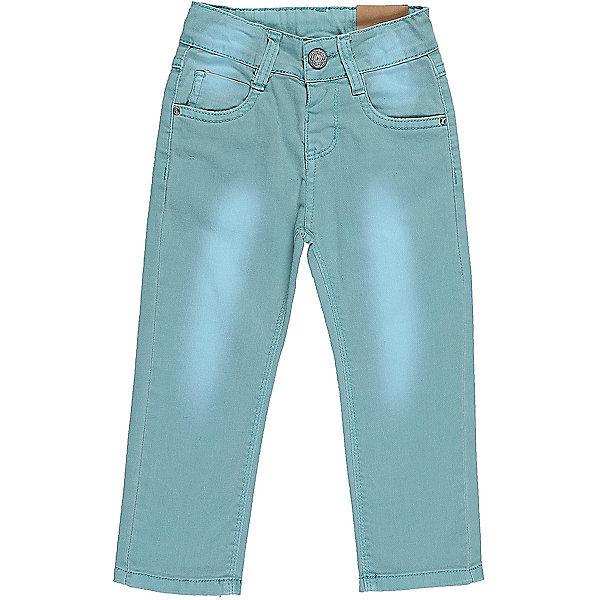 Джинсы для девочки Sweet BerryДжинсы<br>Бирюзовые джинсы  для девочки с оригинальной варкой. Имеют зауженный крой, среднюю посадку. Застегиваются на молнию и крючок. Шлевки на поясе рассчитаны под ремень. В боковой части пояса находятся вшитые эластичные ленты, регулирующие посадку по талии.<br>Состав:<br>98%хлопок 2%эластан<br><br>Ширина мм: 215<br>Глубина мм: 88<br>Высота мм: 191<br>Вес г: 336<br>Цвет: голубой<br>Возраст от месяцев: 12<br>Возраст до месяцев: 18<br>Пол: Женский<br>Возраст: Детский<br>Размер: 86,80,98,92<br>SKU: 5411208