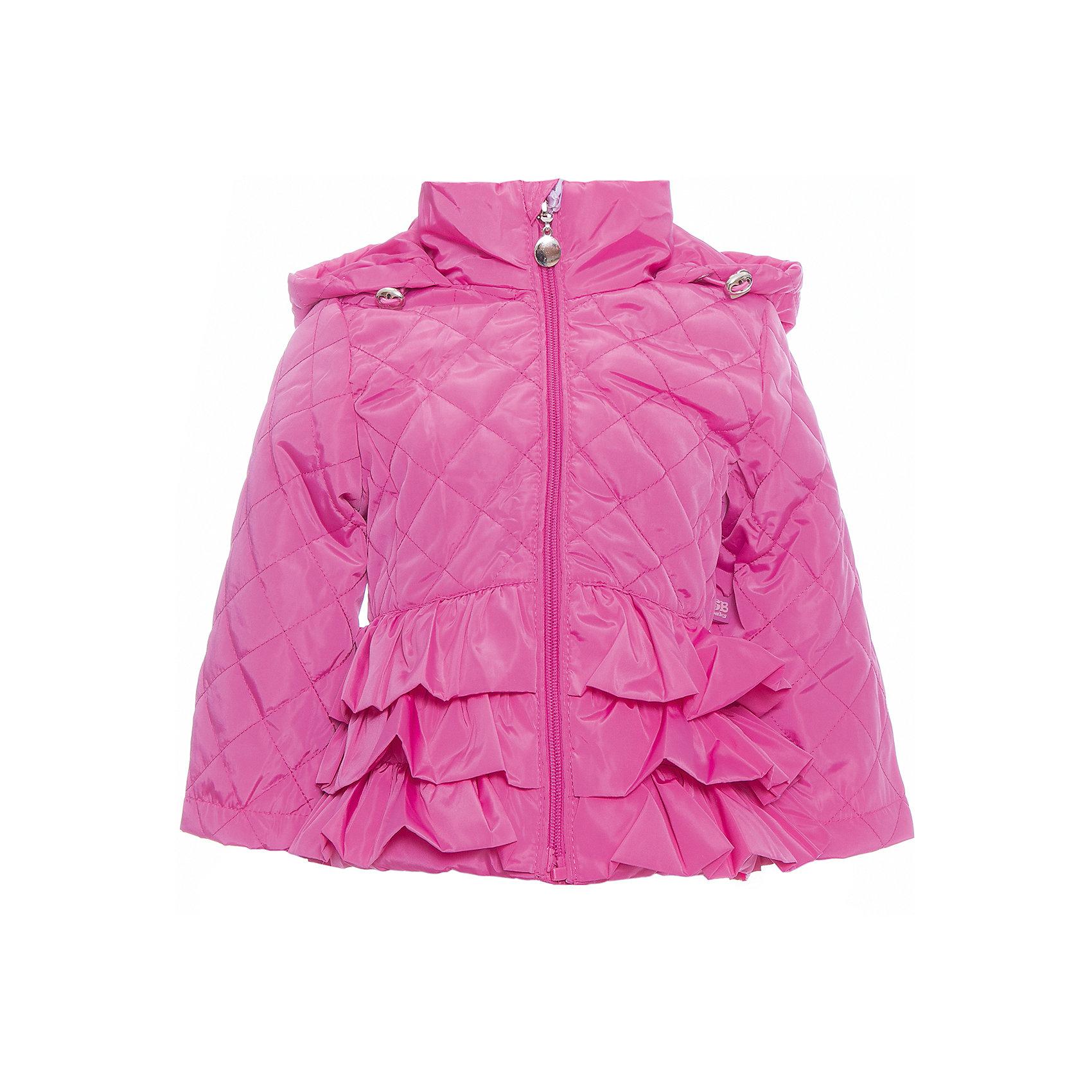 Куртка для девочки Sweet BerryВерхняя одежда<br>Стильная, стеганая куртка для девочки. Застегивается на молнию.  Капюшон с дополнительной утяжкой. Низ куртки декорирован объемными воланами.<br>Состав:<br>Верх: 100%полиэстер. Подкладка: 65%хлопок 35%полиэстер. Наполнитель: 100%полиэстер<br><br>Ширина мм: 356<br>Глубина мм: 10<br>Высота мм: 245<br>Вес г: 519<br>Цвет: фиолетовый<br>Возраст от месяцев: 12<br>Возраст до месяцев: 15<br>Пол: Женский<br>Возраст: Детский<br>Размер: 80,86,92,98<br>SKU: 5411222
