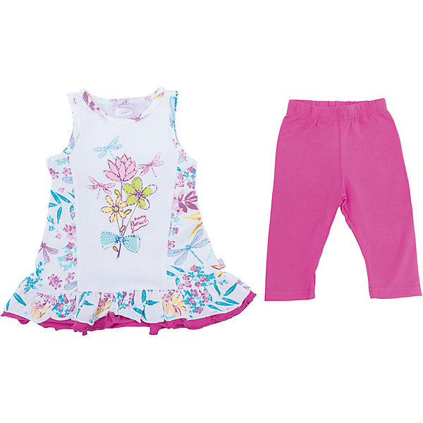 Комплект: платье и леггинсы для девочки Sweet BerryКомплекты<br>Трикотажный комплект для девочки. Платье с цветочным рисунком, свободный крой. Лосины ярко-розового цвета. Эластичный пояс.<br>Состав:<br>95%хлопок 5%эластан<br><br>Ширина мм: 123<br>Глубина мм: 10<br>Высота мм: 149<br>Вес г: 209<br>Цвет: розовый<br>Возраст от месяцев: 12<br>Возраст до месяцев: 18<br>Пол: Женский<br>Возраст: Детский<br>Размер: 86,80,98,92<br>SKU: 5411242