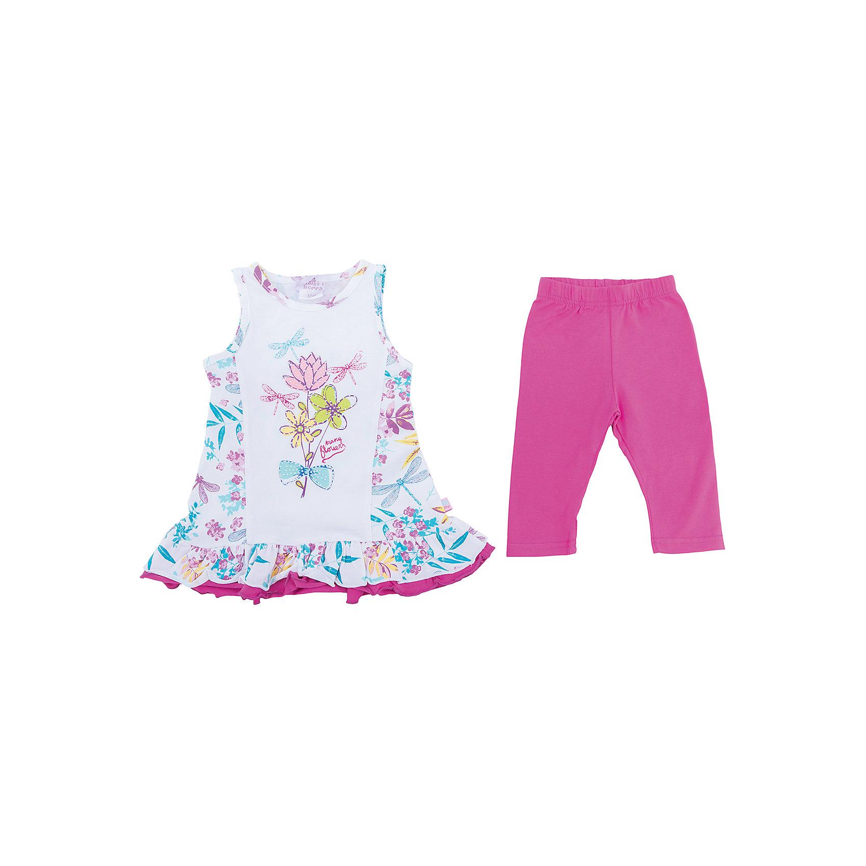 Комплект: платье и леггинсы для девочки Sweet BerryКомплекты<br>Трикотажный комплект для девочки. Платье с цветочным рисунком, свободный крой. Лосины ярко-розового цвета. Эластичный пояс.<br>Состав:<br>95%хлопок 5%эластан<br><br>Ширина мм: 123<br>Глубина мм: 10<br>Высота мм: 149<br>Вес г: 209<br>Цвет: розовый<br>Возраст от месяцев: 12<br>Возраст до месяцев: 15<br>Пол: Женский<br>Возраст: Детский<br>Размер: 80,86,92,98<br>SKU: 5411242