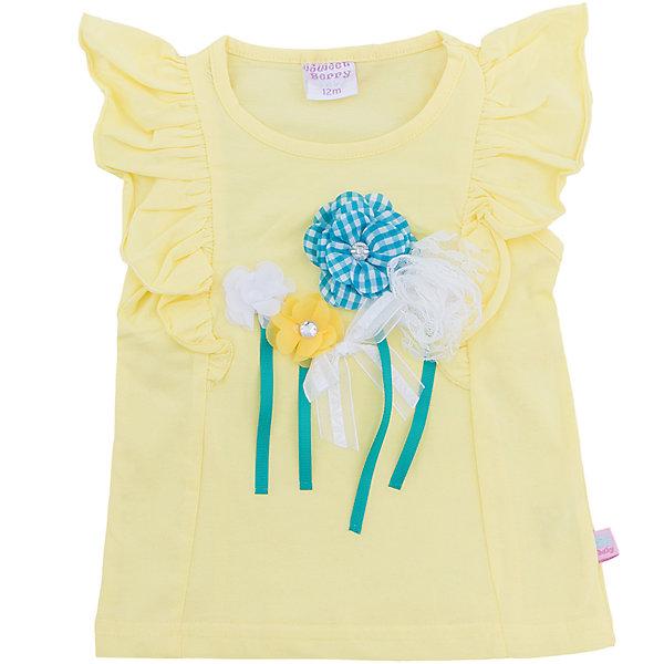 Майка для девочки Sweet BerryФутболки, топы<br>Стильная, желтая футболка из хлопка для девочки. Рукава декорированы воланами. Полочка украшена цветочной аппликацией. Приталенный крой.<br>Состав:<br>95%хлопок 5%эластан<br><br>Ширина мм: 199<br>Глубина мм: 10<br>Высота мм: 161<br>Вес г: 151<br>Цвет: желтый<br>Возраст от месяцев: 12<br>Возраст до месяцев: 18<br>Пол: Женский<br>Возраст: Детский<br>Размер: 86,80,98,92<br>SKU: 5411252