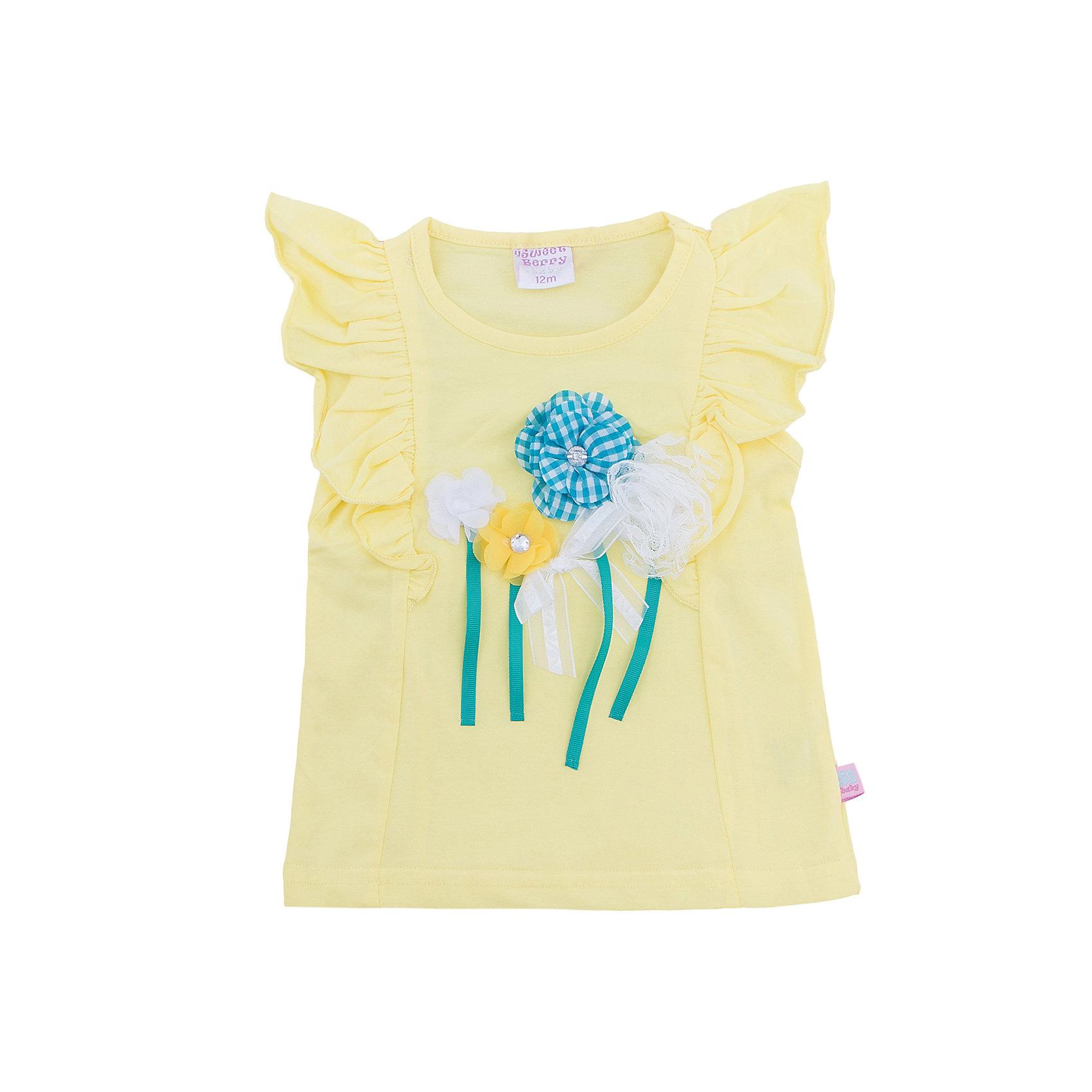 Майка для девочки Sweet BerryФутболки, топы<br>Стильная, желтая футболка из хлопка для девочки. Рукава декорированы воланами. Полочка украшена цветочной аппликацией. Приталенный крой.<br>Состав:<br>95%хлопок 5%эластан<br><br>Ширина мм: 199<br>Глубина мм: 10<br>Высота мм: 161<br>Вес г: 151<br>Цвет: желтый<br>Возраст от месяцев: 12<br>Возраст до месяцев: 15<br>Пол: Женский<br>Возраст: Детский<br>Размер: 80,86,92,98<br>SKU: 5411252