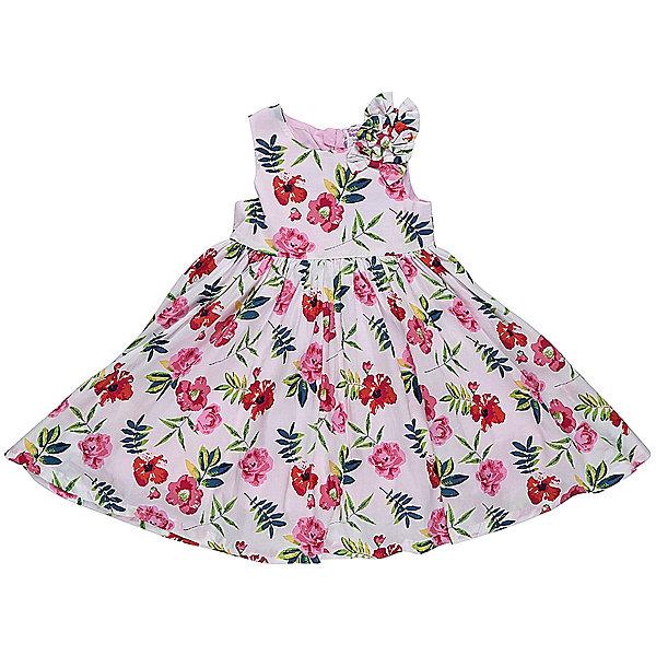 Платье для девочки Sweet BerryОдежда<br>Платье из хлопка с цветочным рисунком, лиф декорирован бантиками. Пышная юбка-солнце, с хлопковой подкладкой. На спинке платье застегивается на потайную молнию.<br>Состав:<br>Верх: 100% хлопок, Подкладка: 100%хлопок<br><br>Ширина мм: 236<br>Глубина мм: 16<br>Высота мм: 184<br>Вес г: 177<br>Цвет: розовый<br>Возраст от месяцев: 12<br>Возраст до месяцев: 18<br>Пол: Женский<br>Возраст: Детский<br>Размер: 86,80,98,92<br>SKU: 5411262
