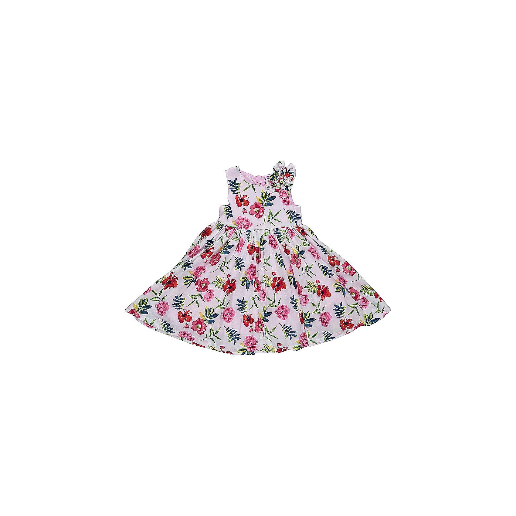 Платье для девочки Sweet BerryОдежда<br>Платье из хлопка с цветочным рисунком, лиф декорирован бантиками. Пышная юбка-солнце, с хлопковой подкладкой. На спинке платье застегивается на потайную молнию.<br>Состав:<br>Верх: 100% хлопок, Подкладка: 100%хлопок<br><br>Ширина мм: 236<br>Глубина мм: 16<br>Высота мм: 184<br>Вес г: 177<br>Цвет: розовый<br>Возраст от месяцев: 12<br>Возраст до месяцев: 15<br>Пол: Женский<br>Возраст: Детский<br>Размер: 80,86,92,98<br>SKU: 5411262