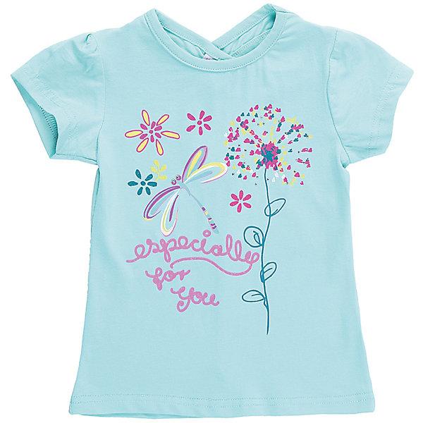 Футболка для девочки Sweet BerryФутболки, топы<br>Бирюзовая футболка с фигурным вырезом горловины на спинке для девочки. Декорирована ярким принтом. Приталенный крой.<br>Состав:<br>95%хлопок 5%эластан<br><br>Ширина мм: 199<br>Глубина мм: 10<br>Высота мм: 161<br>Вес г: 151<br>Цвет: голубой<br>Возраст от месяцев: 12<br>Возраст до месяцев: 18<br>Пол: Женский<br>Возраст: Детский<br>Размер: 86,80,98,92<br>SKU: 5411272