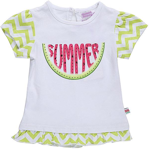 Футболка для девочки Sweet BerryФутболки, топы<br>Хлопковая, удленненая  футболка для девочки с оригинальным принтом. Короткий рукав, низ изделия декорированволаном Застежка на пуговке на спинке. Горловина выполнена из контрастной ткани.<br>Состав:<br>95%хлопок 5%эластан<br>Ширина мм: 199; Глубина мм: 10; Высота мм: 161; Вес г: 151; Цвет: белый; Возраст от месяцев: 12; Возраст до месяцев: 18; Пол: Женский; Возраст: Детский; Размер: 86,80,98,92; SKU: 5411282;