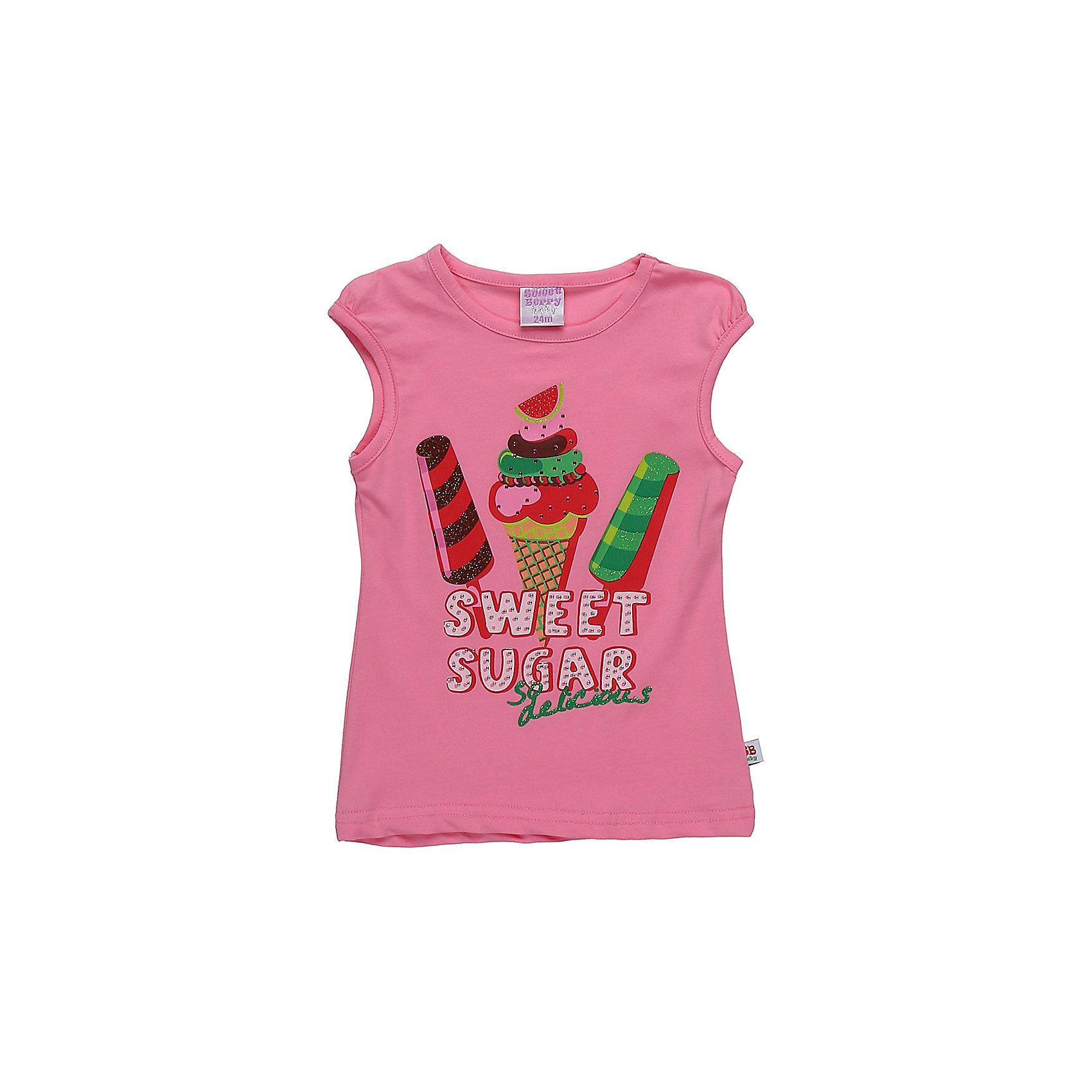 Футболка для девочки Sweet BerryФутболки, топы<br>Яркая трикотажная футболка для девочки декорированная оригинальным принтом.<br>Состав:<br>95%хлопок 5%эластан<br><br>Ширина мм: 199<br>Глубина мм: 10<br>Высота мм: 161<br>Вес г: 151<br>Цвет: розовый<br>Возраст от месяцев: 12<br>Возраст до месяцев: 15<br>Пол: Женский<br>Возраст: Детский<br>Размер: 80,86,92,98<br>SKU: 5411296
