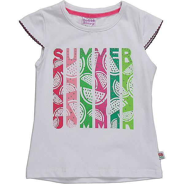 Футболка для девочки Sweet BerryФутболки, топы<br>Белая трикотажная футболка для девочки декорированная оригинальным принтом.<br>Состав:<br>95%хлопок 5%эластан<br><br>Ширина мм: 199<br>Глубина мм: 10<br>Высота мм: 161<br>Вес г: 151<br>Цвет: белый<br>Возраст от месяцев: 12<br>Возраст до месяцев: 18<br>Пол: Женский<br>Возраст: Детский<br>Размер: 86,80,98,92<br>SKU: 5411333
