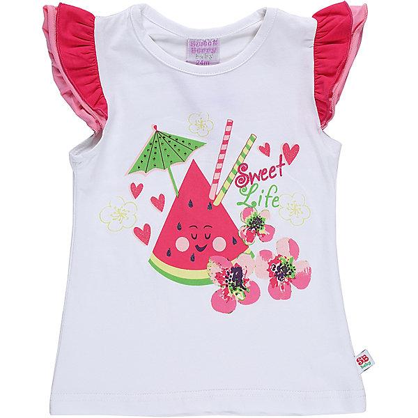 Футболка для девочки Sweet BerryФутболки, поло и топы<br>Хлопковая футболка для девочки с фруктовым принтом. Рукава декорированы многослойными воланами.<br>Состав:<br>95%хлопок 5%эластан<br>Ширина мм: 199; Глубина мм: 10; Высота мм: 161; Вес г: 151; Цвет: белый; Возраст от месяцев: 12; Возраст до месяцев: 18; Пол: Женский; Возраст: Детский; Размер: 86,80,98,92; SKU: 5411343;