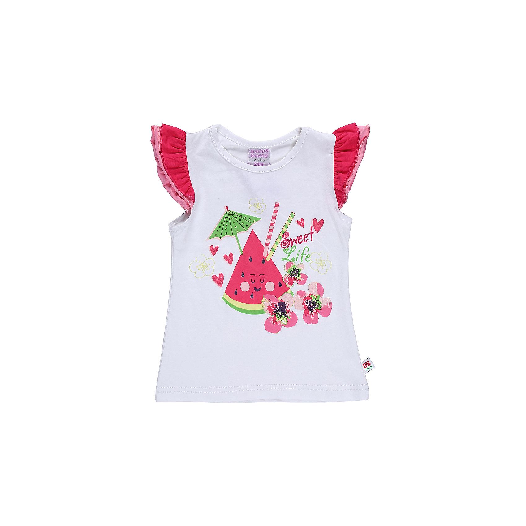 Футболка для девочки Sweet BerryФутболки, топы<br>Хлопковая футболка для девочки с фруктовым принтом. Рукава декорированы многослойными воланами.<br>Состав:<br>95%хлопок 5%эластан<br><br>Ширина мм: 199<br>Глубина мм: 10<br>Высота мм: 161<br>Вес г: 151<br>Цвет: белый<br>Возраст от месяцев: 12<br>Возраст до месяцев: 15<br>Пол: Женский<br>Возраст: Детский<br>Размер: 80,86,92,98<br>SKU: 5411343