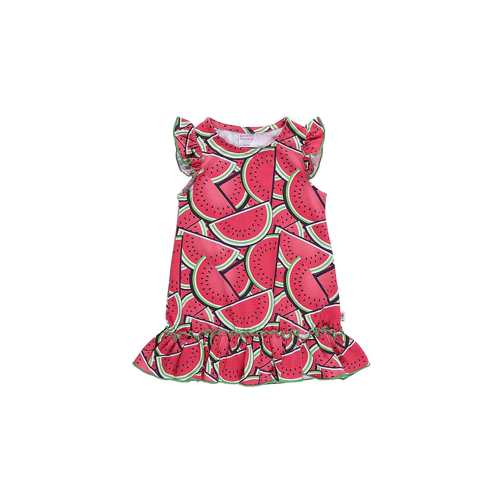 Платье для девочки Sweet BerryПлатья<br>Модное трикотажное платье для девочки с фруктовым принтом. Рукава крылышки. Свободный крой.<br>Состав:<br>95%хлопок 5%эластан<br><br>Ширина мм: 236<br>Глубина мм: 16<br>Высота мм: 184<br>Вес г: 177<br>Цвет: фиолетовый<br>Возраст от месяцев: 12<br>Возраст до месяцев: 15<br>Пол: Женский<br>Возраст: Детский<br>Размер: 80,86,92,98<br>SKU: 5411372
