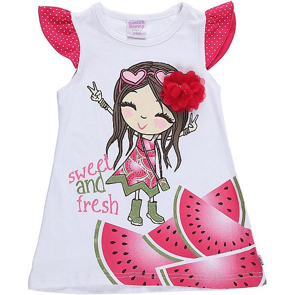 Платье для девочки Sweet BerryПлатья<br>Модное трикотажное платье для девочки с ярким принтом. Рукава крылышки. Свободный крой.<br>Состав:<br>95%хлопок 5%эластан<br><br>Ширина мм: 236<br>Глубина мм: 16<br>Высота мм: 184<br>Вес г: 177<br>Цвет: белый<br>Возраст от месяцев: 12<br>Возраст до месяцев: 15<br>Пол: Женский<br>Возраст: Детский<br>Размер: 86,92,98,80<br>SKU: 5411382