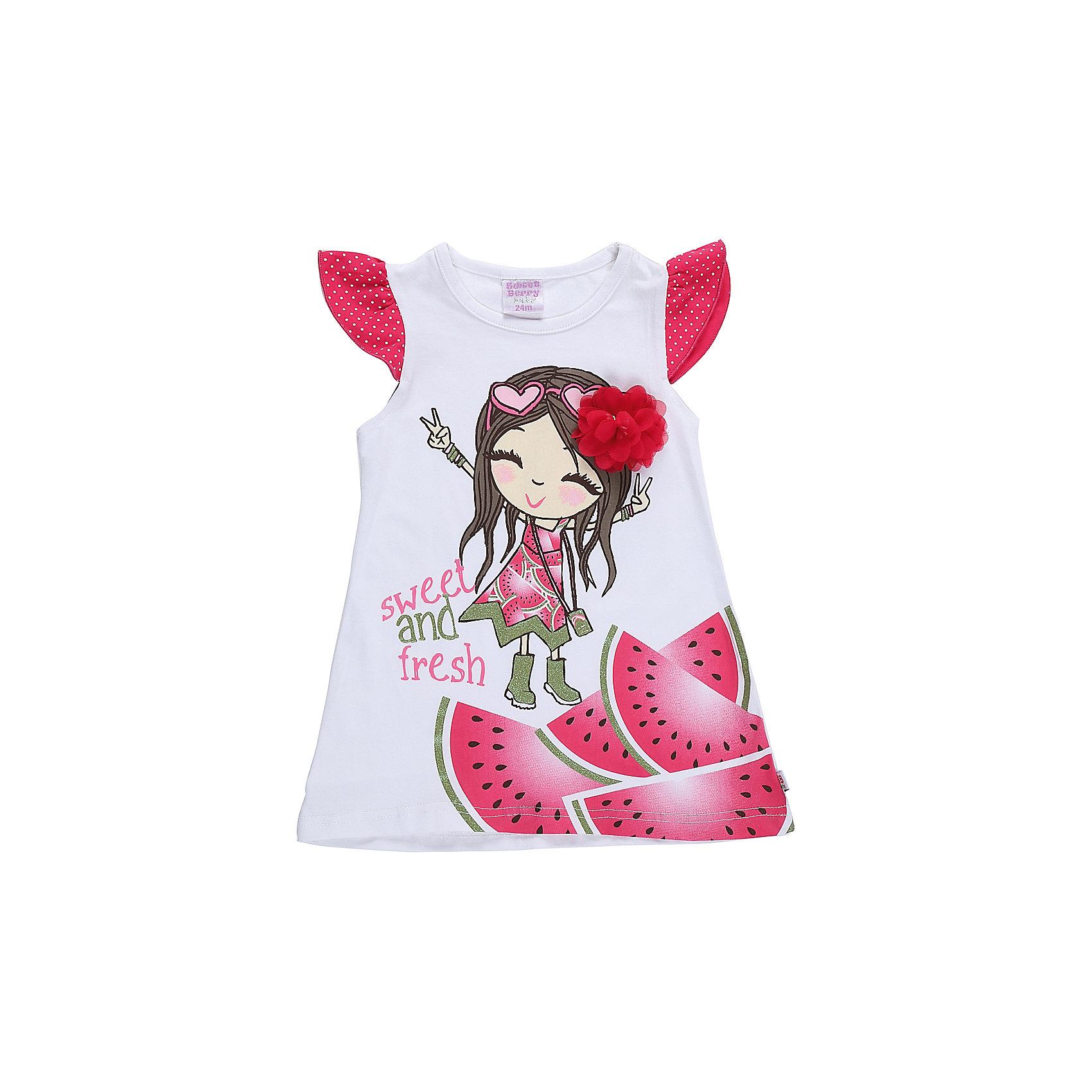 Платье для девочки Sweet BerryПлатья<br>Модное трикотажное платье для девочки с ярким принтом. Рукава крылышки. Свободный крой.<br>Состав:<br>95%хлопок 5%эластан<br><br>Ширина мм: 236<br>Глубина мм: 16<br>Высота мм: 184<br>Вес г: 177<br>Цвет: белый<br>Возраст от месяцев: 12<br>Возраст до месяцев: 18<br>Пол: Женский<br>Возраст: Детский<br>Размер: 86,80,98,92<br>SKU: 5411382