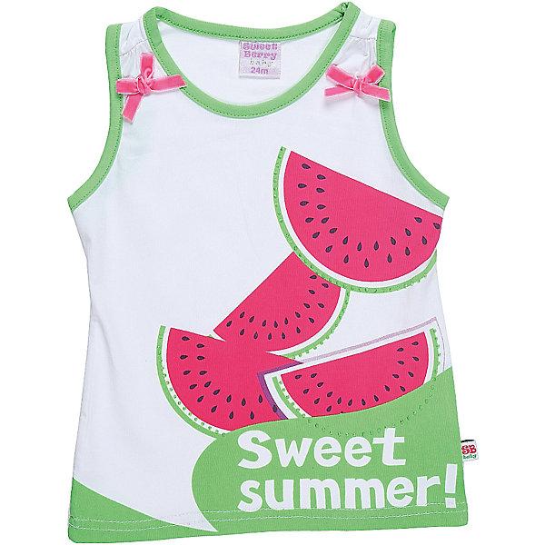 Майка для девочки Sweet BerryФутболки, топы<br>Майка-топ из хлопкового полотна для девочки декорированная ярким принитом и контрастным кантом.<br>Состав:<br>95%хлопок 5%эластан<br><br>Ширина мм: 199<br>Глубина мм: 10<br>Высота мм: 161<br>Вес г: 151<br>Цвет: белый<br>Возраст от месяцев: 12<br>Возраст до месяцев: 18<br>Пол: Женский<br>Возраст: Детский<br>Размер: 86,80,98,92<br>SKU: 5411420