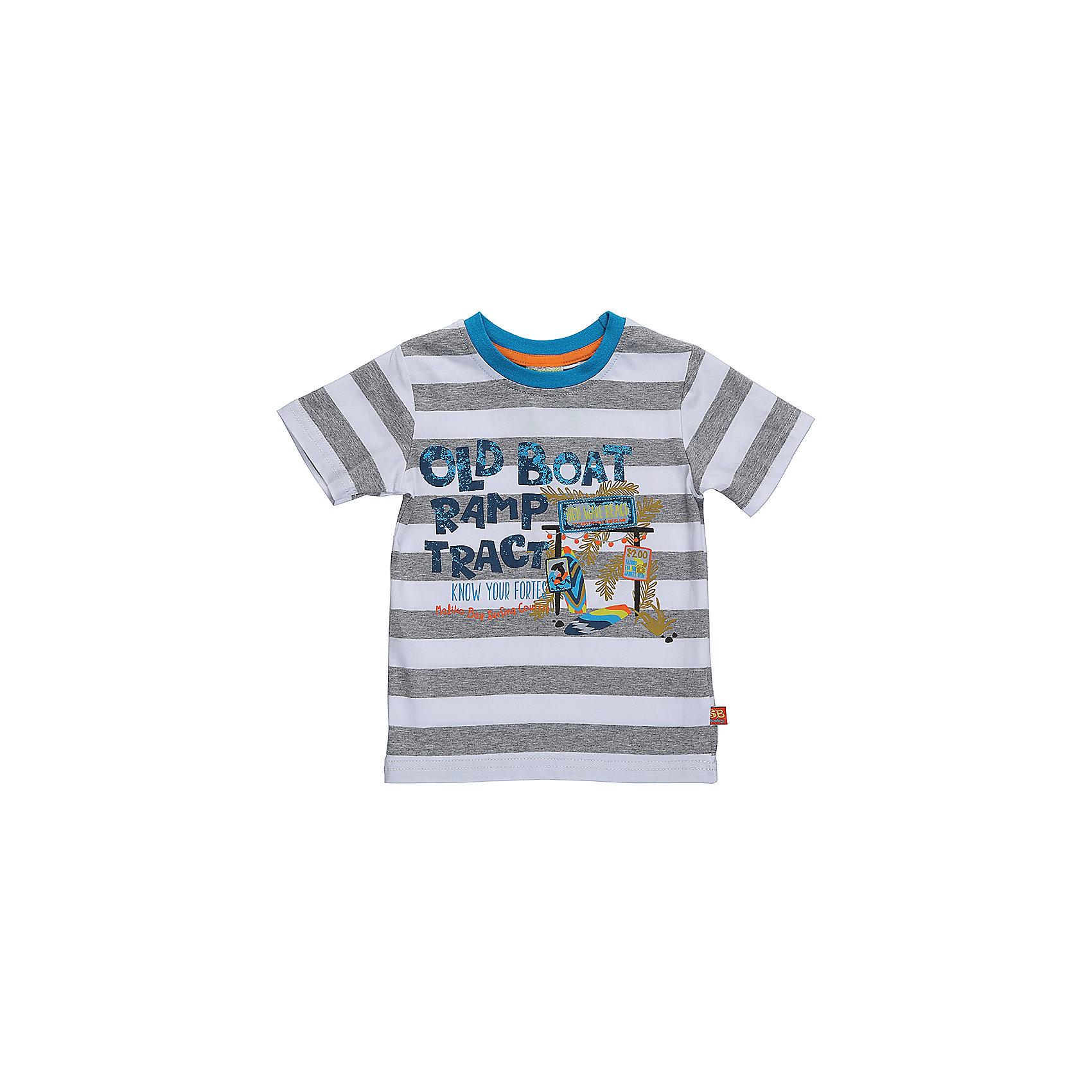 Футболка для мальчика Sweet BerryФутболки, топы<br>Красивая футболка в серо-белую полоску с круглым вырезом. Подойдет для лета или теплой весны. Впереди футболка декорирована надписью и нашивкой.<br>Состав:<br>95%хлопок 5%эластан<br><br>Ширина мм: 199<br>Глубина мм: 10<br>Высота мм: 161<br>Вес г: 151<br>Цвет: белый<br>Возраст от месяцев: 18<br>Возраст до месяцев: 24<br>Пол: Мужской<br>Возраст: Детский<br>Размер: 92,80,98,86<br>SKU: 5411440