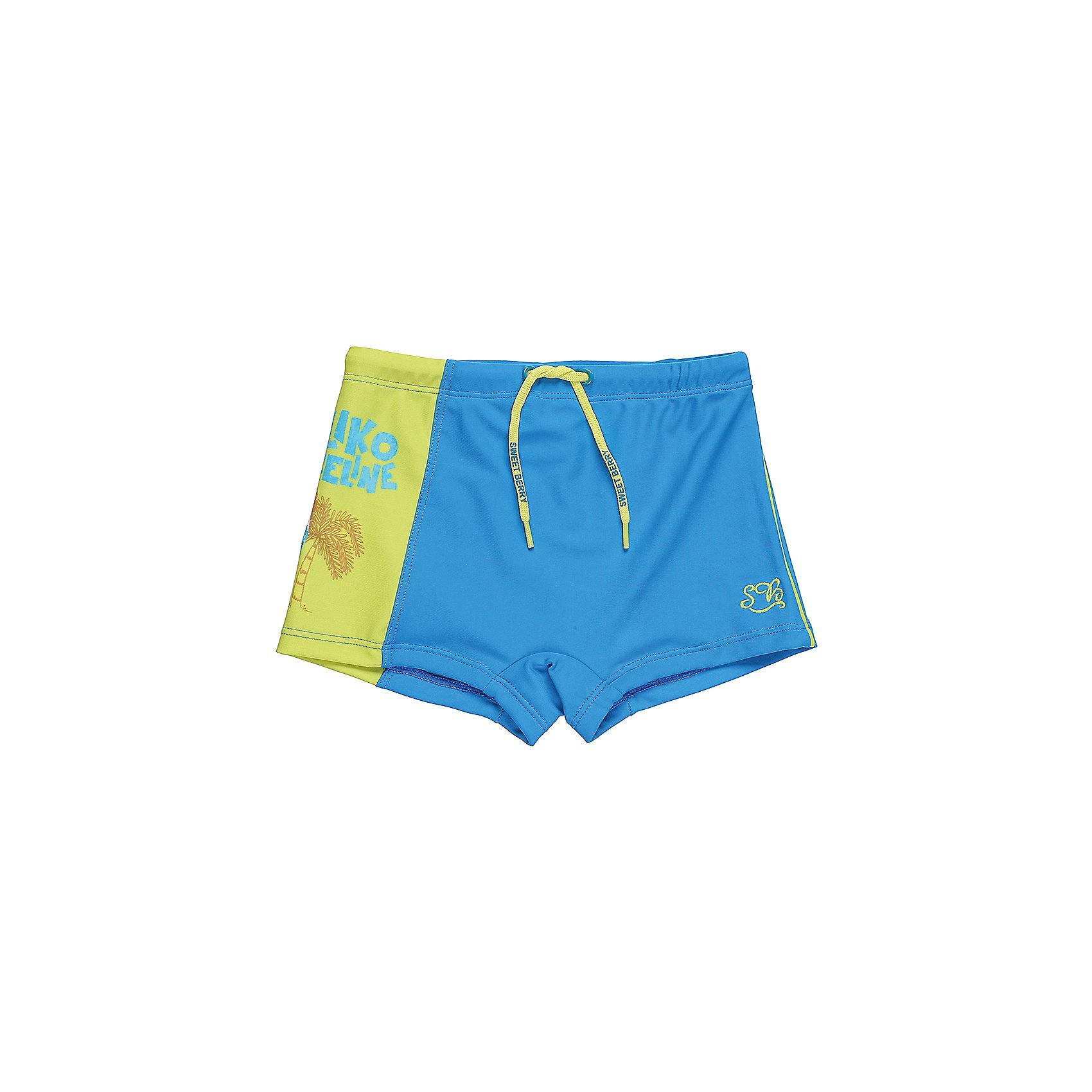 Плавки для мальчика Sweet BerryКупальники и плавки<br>Классические купальные плавки-шорты для мальчика с ярким принтом. Пояс-резинка дополнен шнуром для регулирования объема.<br>Состав:<br>85%нейлон 15% эластан<br><br>Ширина мм: 183<br>Глубина мм: 60<br>Высота мм: 135<br>Вес г: 119<br>Цвет: голубой<br>Возраст от месяцев: 36<br>Возраст до месяцев: 48<br>Пол: Мужской<br>Возраст: Детский<br>Размер: 104,92,98,110,116,122<br>SKU: 5411445