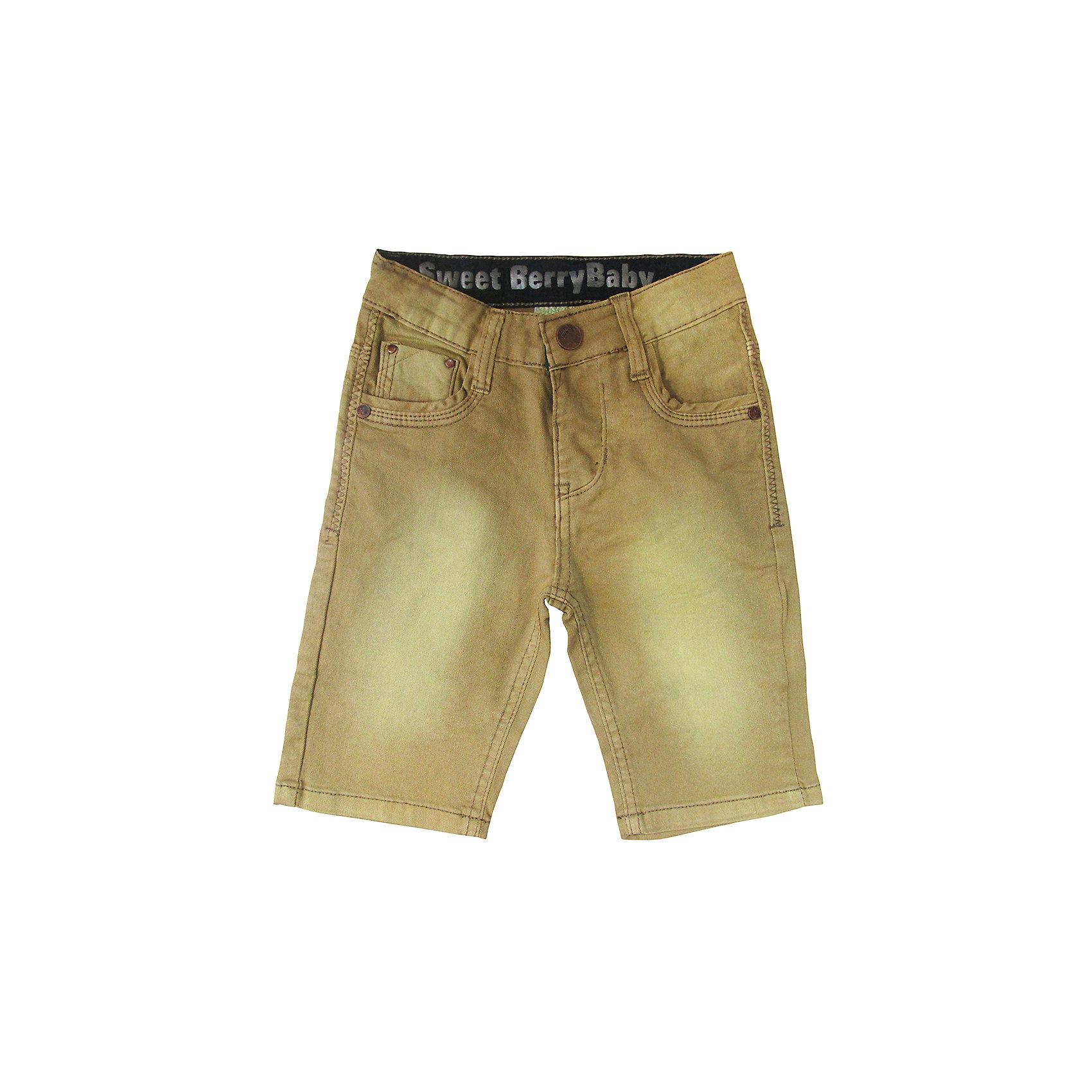 Бриджи джинсовые для мальчика Sweet BerryДжинсовая одежда<br>Джинсовые бриджи цвета хаки.  Имеют зауженный крой, среднюю посадку. Застегиваются на молнию и крючок. Шлевки на поясе рассчитаны под ремень. В боковой части пояса находятся вшитые эластичные ленты, регулирующие посадку по талии.<br>Состав:<br>98%хлопок 2%эластан<br><br>Ширина мм: 215<br>Глубина мм: 88<br>Высота мм: 191<br>Вес г: 336<br>Цвет: коричневый<br>Возраст от месяцев: 12<br>Возраст до месяцев: 15<br>Пол: Мужской<br>Возраст: Детский<br>Размер: 80,86,92,98<br>SKU: 5411452