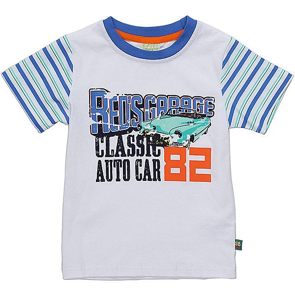 Футболка для мальчика Sweet BerryФутболки, топы<br>Белая, хлопковая футболка для мальчика  со стилизованным принтом выполненным в технике кракелюр(трещины). Рукава выполнены из ткани в полоску.  Горловина окантована контрастным синим кантом.<br>Состав:<br>95%хлопок 5%эластан<br><br>Ширина мм: 199<br>Глубина мм: 10<br>Высота мм: 161<br>Вес г: 151<br>Цвет: белый<br>Возраст от месяцев: 12<br>Возраст до месяцев: 18<br>Пол: Мужской<br>Возраст: Детский<br>Размер: 86,80,98,92<br>SKU: 5411521