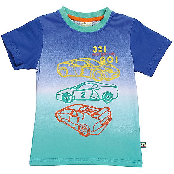 Футболка для мальчика Sweet BerryФутболки, топы<br>Стильная хлопковая футболка для мальчика с градиентом, декорированная контурным изображением машин. Горловина выполнена из контрастного бирюзового канта.<br>Состав:<br>95%хлопок 5%эластан<br><br>Ширина мм: 199<br>Глубина мм: 10<br>Высота мм: 161<br>Вес г: 151<br>Цвет: белый<br>Возраст от месяцев: 12<br>Возраст до месяцев: 18<br>Пол: Мужской<br>Возраст: Детский<br>Размер: 86,92,98,80<br>SKU: 5411536