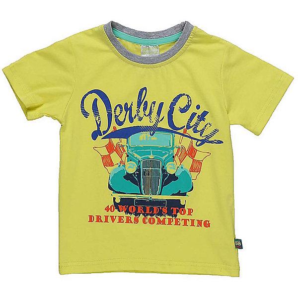 Футболка для мальчика Sweet BerryФутболки, топы<br>Ярко-желтая футболка из хлопковой ткани для мальчика. Декорирована ярким принтом в виде машины, горловина выполнена из контрастной серой ткани.<br>Состав:<br>95%хлопок 5%эластан<br>Ширина мм: 199; Глубина мм: 10; Высота мм: 161; Вес г: 151; Цвет: желтый; Возраст от месяцев: 12; Возраст до месяцев: 18; Пол: Мужской; Возраст: Детский; Размер: 86,80,98,92; SKU: 5411556;