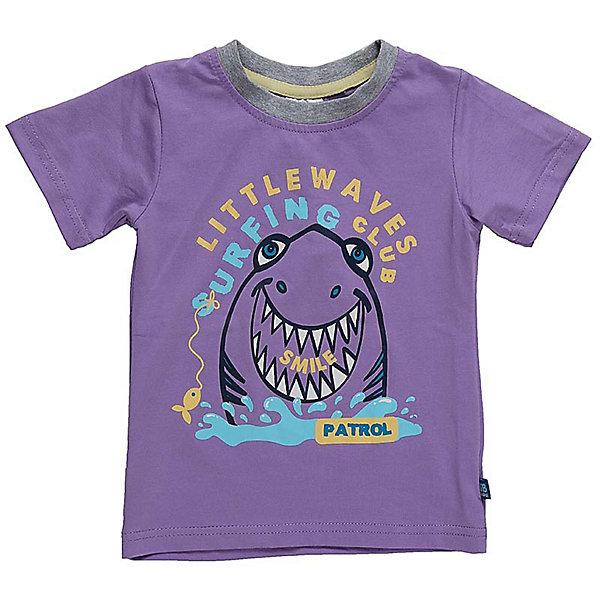 Футболка для мальчика Sweet BerryФутболки, поло и топы<br>Классическая футболка сиреневого цвета с тематическим принтом в морском стиле. Горловина обработана контрастным кантом.<br>Состав:<br>95%хлопок 5%эластан<br><br>Ширина мм: 199<br>Глубина мм: 10<br>Высота мм: 161<br>Вес г: 151<br>Цвет: лиловый<br>Возраст от месяцев: 12<br>Возраст до месяцев: 18<br>Пол: Мужской<br>Возраст: Детский<br>Размер: 86,80,98,92<br>SKU: 5411630