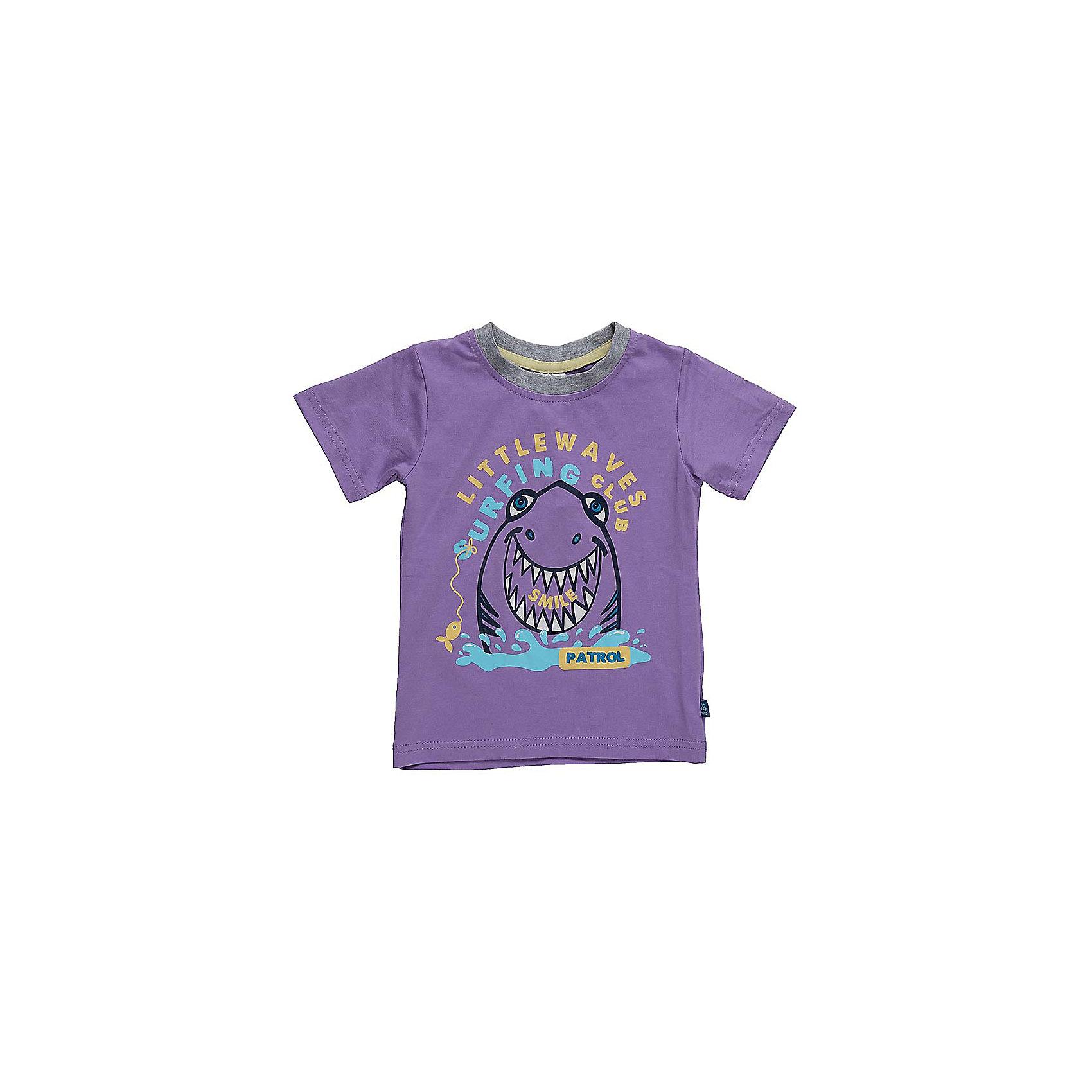 Футболка для мальчика Sweet BerryФутболки, топы<br>Классическая футболка сиреневого цвета с тематическим принтом в морском стиле. Горловина обработана контрастным кантом.<br>Состав:<br>95%хлопок 5%эластан<br><br>Ширина мм: 199<br>Глубина мм: 10<br>Высота мм: 161<br>Вес г: 151<br>Цвет: лиловый<br>Возраст от месяцев: 12<br>Возраст до месяцев: 15<br>Пол: Мужской<br>Возраст: Детский<br>Размер: 80,86,92,98<br>SKU: 5411630