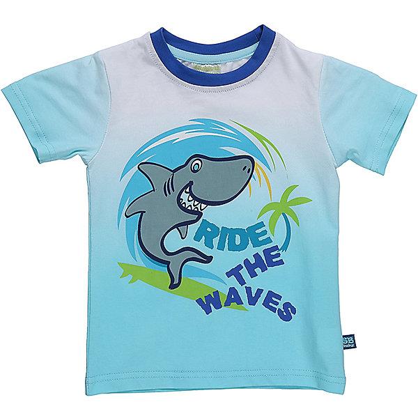 Футболка для мальчика Sweet BerryФутболки, топы<br>Бело-голубая футболка с градиентным переливом для мальчика.  На груди принт с изображением рыбы. Вырез обработан контрастным кантом.<br>Состав:<br>95%хлопок 5%эластан<br>Ширина мм: 199; Глубина мм: 10; Высота мм: 161; Вес г: 151; Цвет: белый; Возраст от месяцев: 12; Возраст до месяцев: 15; Пол: Мужской; Возраст: Детский; Размер: 80,98,92,86; SKU: 5411652;