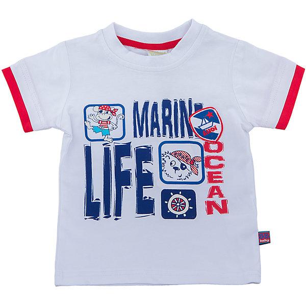 Футболка для мальчика Sweet BerryФутболки, поло и топы<br>Классическая белая футболка со стилизованным модным принтом и декоративной нашивкой. Рукава с двойным кантом контрастного цвета.<br>Состав:<br>95%хлопок 5%эластан<br><br>Ширина мм: 199<br>Глубина мм: 10<br>Высота мм: 161<br>Вес г: 151<br>Цвет: белый<br>Возраст от месяцев: 12<br>Возраст до месяцев: 18<br>Пол: Мужской<br>Возраст: Детский<br>Размер: 86,80,98,92<br>SKU: 5411745