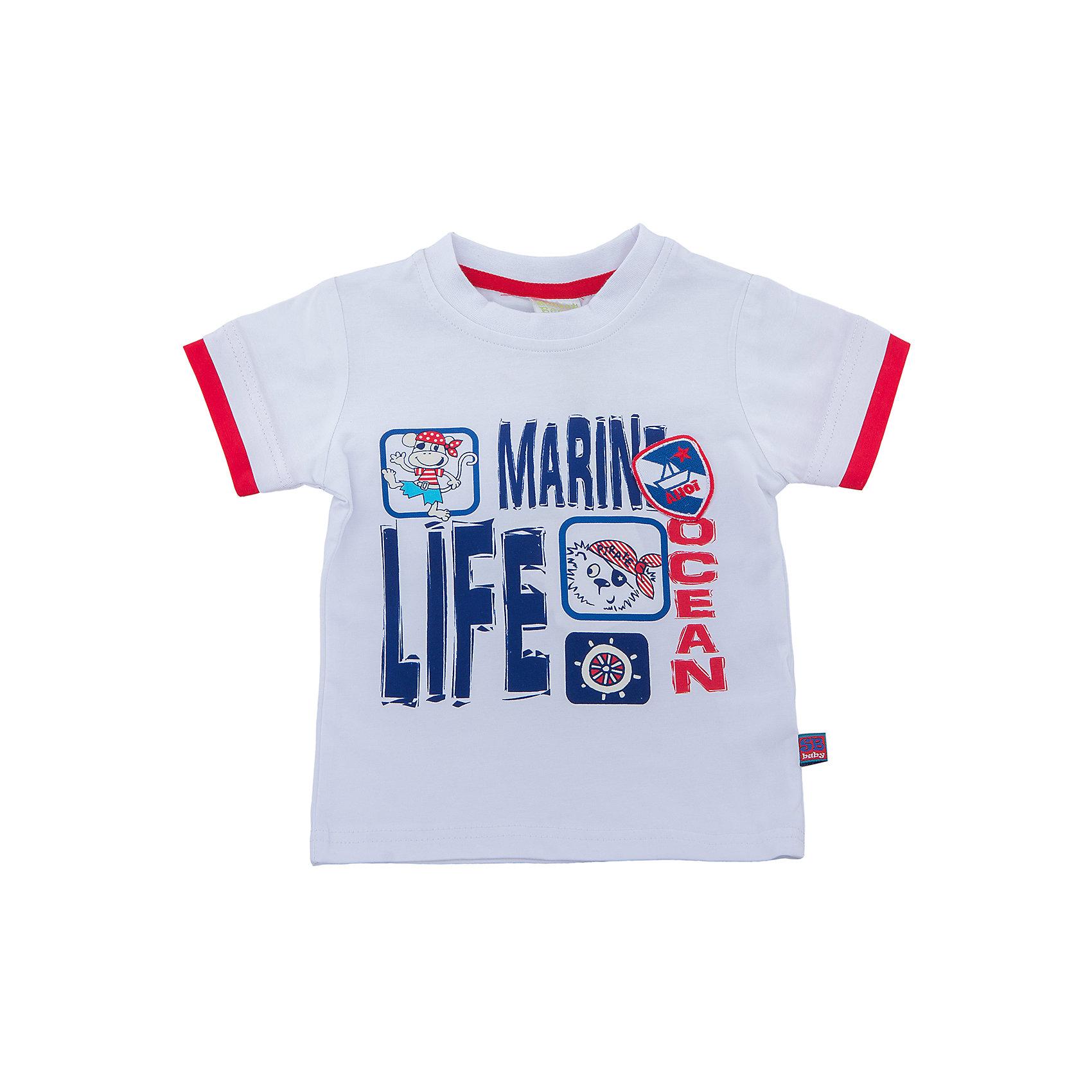 Футболка для мальчика Sweet BerryФутболки, топы<br>Классическая белая футболка со стилизованным модным принтом и декоративной нашивкой. Рукава с двойным кантом контрастного цвета.<br>Состав:<br>95%хлопок 5%эластан<br><br>Ширина мм: 199<br>Глубина мм: 10<br>Высота мм: 161<br>Вес г: 151<br>Цвет: белый<br>Возраст от месяцев: 12<br>Возраст до месяцев: 15<br>Пол: Мужской<br>Возраст: Детский<br>Размер: 80,86,92,98<br>SKU: 5411745