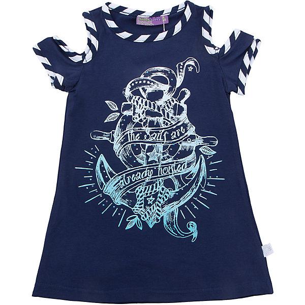 Футболка для девочки Sweet BerryФутболки, поло и топы<br>Удлиненная футболка из трикотажной, мягкой ткани для девочки с коротким рукавом. Декорирована оригинальным принтом и контрастным кантом.<br>Состав:<br>95%хлопок 5%эластан<br>Ширина мм: 199; Глубина мм: 10; Высота мм: 161; Вес г: 151; Цвет: синий; Возраст от месяцев: 48; Возраст до месяцев: 60; Пол: Женский; Возраст: Детский; Размер: 110,104,122,116,98,128; SKU: 5411834;