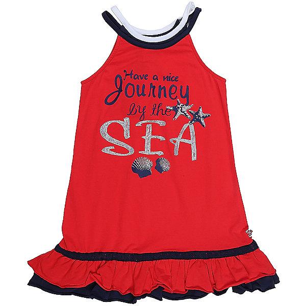 Платье для девочки Sweet BerryЛетние платья и сарафаны<br>Яркое трикотажное платье на лямках для девочки декорированное оригинальным принтом.  Низ изделия выделен двухслойным воланом и контрастной отстрочкой.<br>Состав:<br>95%хлопок 5%эластан<br>Ширина мм: 236; Глубина мм: 16; Высота мм: 184; Вес г: 177; Цвет: красный; Возраст от месяцев: 24; Возраст до месяцев: 36; Пол: Женский; Возраст: Детский; Размер: 98,104,128,122,116,110; SKU: 5411845;