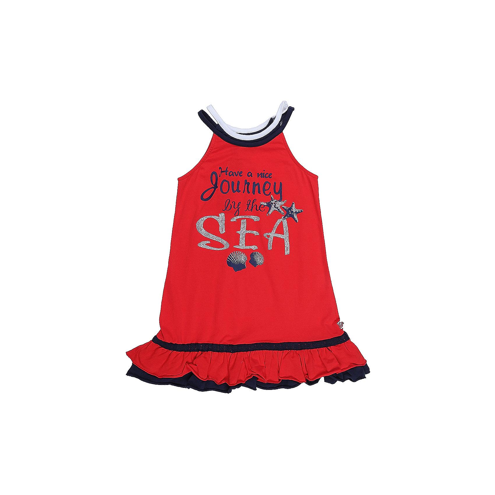 Платье для девочки Sweet BerryЛетние платья и сарафаны<br>Яркое трикотажное платье на лямках для девочки декорированное оригинальным принтом.  Низ изделия выделен двухслойным воланом и контрастной отстрочкой.<br>Состав:<br>95%хлопок 5%эластан<br><br>Ширина мм: 236<br>Глубина мм: 16<br>Высота мм: 184<br>Вес г: 177<br>Цвет: красный<br>Возраст от месяцев: 36<br>Возраст до месяцев: 48<br>Пол: Женский<br>Возраст: Детский<br>Размер: 104,98,110,116,122,128<br>SKU: 5411845