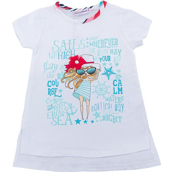 Футболка для девочки Sweet BerryФутболки, поло и топы<br>Удлиненная футболка из трикотажной, мягкой ткани для девочки с коротким рукавом и удлиненной спинкой. Декорирована оригинальным принтом и контрастным кантом.<br>Состав:<br>95%хлопок 5%эластан<br>Ширина мм: 199; Глубина мм: 10; Высота мм: 161; Вес г: 151; Цвет: белый; Возраст от месяцев: 84; Возраст до месяцев: 96; Пол: Женский; Возраст: Детский; Размер: 128,104,98,110,116,122; SKU: 5411856;