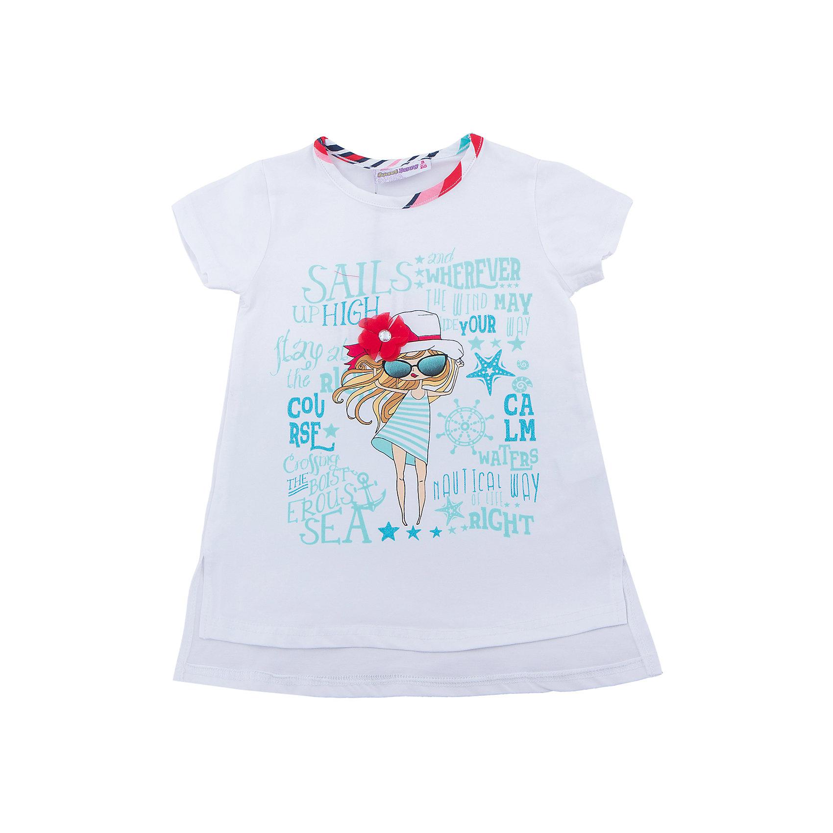 Футболка для девочки Sweet BerryФутболки, поло и топы<br>Удлиненная футболка из трикотажной, мягкой ткани для девочки с коротким рукавом и удлиненной спинкой. Декорирована оригинальным принтом и контрастным кантом.<br>Состав:<br>95%хлопок 5%эластан<br><br>Ширина мм: 199<br>Глубина мм: 10<br>Высота мм: 161<br>Вес г: 151<br>Цвет: белый<br>Возраст от месяцев: 84<br>Возраст до месяцев: 96<br>Пол: Женский<br>Возраст: Детский<br>Размер: 128,104,98,110,116,122<br>SKU: 5411856