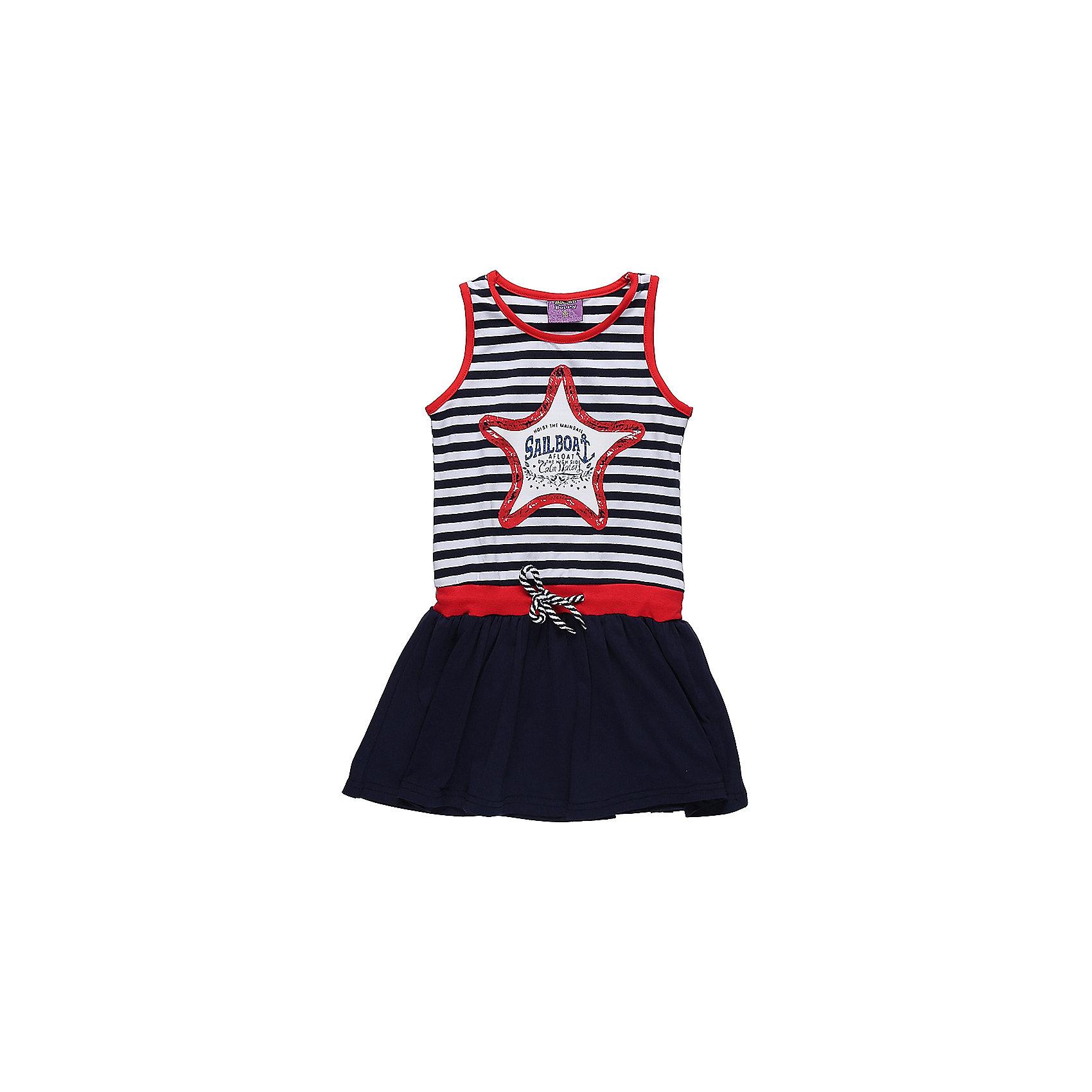 Платье для девочки Sweet BerryПлатья и сарафаны<br>Трикотажное платье для девочки без рукавов в полоску. Декрированно оригинальным принтом и контрастным воланом.<br>Состав:<br>95%хлопок 5%эластан<br><br>Ширина мм: 236<br>Глубина мм: 16<br>Высота мм: 184<br>Вес г: 177<br>Цвет: синий<br>Возраст от месяцев: 36<br>Возраст до месяцев: 48<br>Пол: Женский<br>Возраст: Детский<br>Размер: 104,98,110,116,122,128<br>SKU: 5412092