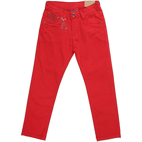 Брюки для девочки Sweet BerryБрюки<br>Стильные джинсовые брюки для девочки. Зауженный крой. Застегиваются на молнию и пуговицу. Шлевки на поясе рассчитаны под ремень. В боковой части пояса находятся вшитые эластичные ленты, регулирующие посадку по талии.<br>Состав:<br>98%хлопок 2%эластан<br>Ширина мм: 215; Глубина мм: 88; Высота мм: 191; Вес г: 336; Цвет: красный; Возраст от месяцев: 36; Возраст до месяцев: 48; Пол: Женский; Возраст: Детский; Размер: 104,116,110,98,128,122; SKU: 5412141;
