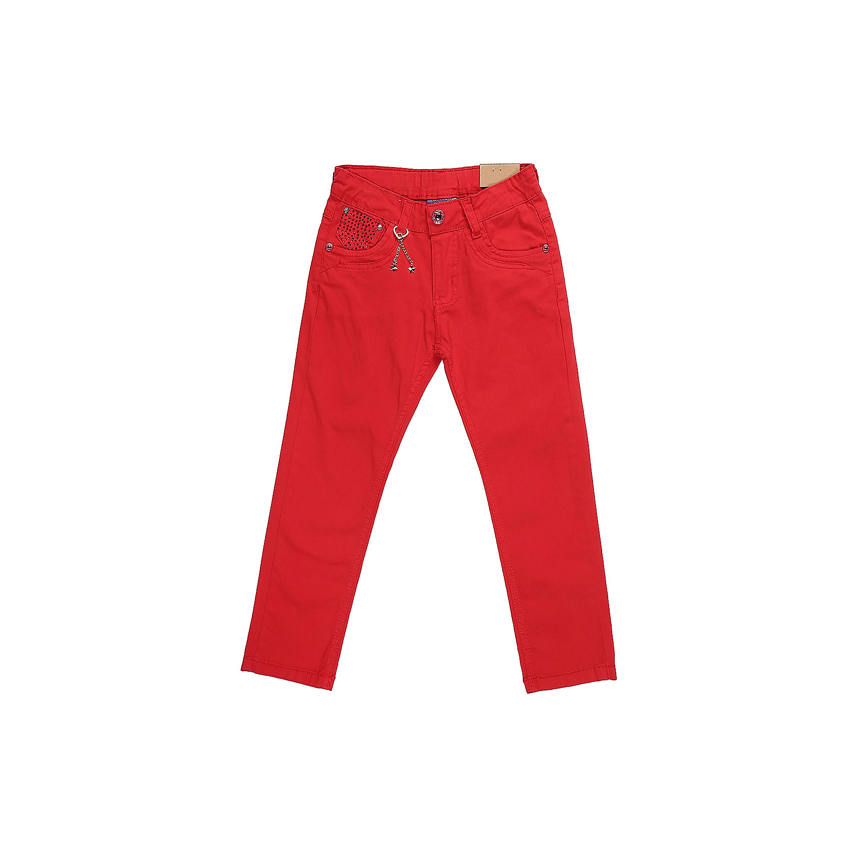 Брюки для девочки Sweet BerryБрюки<br>Стильные джинсовые брюки для девочки. Зауженный крой. Застегиваются на молнию и пуговицу. Шлевки на поясе рассчитаны под ремень. В боковой части пояса находятся вшитые эластичные ленты, регулирующие посадку по талии.<br>Состав:<br>98%хлопок 2%эластан<br><br>Ширина мм: 215<br>Глубина мм: 88<br>Высота мм: 191<br>Вес г: 336<br>Цвет: красный<br>Возраст от месяцев: 36<br>Возраст до месяцев: 48<br>Пол: Женский<br>Возраст: Детский<br>Размер: 104,98,110,116,122,128<br>SKU: 5412141