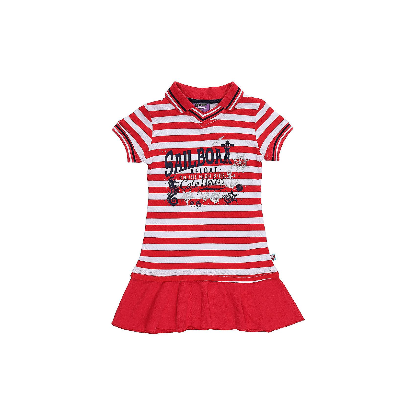 Платье для девочки Sweet BerryЛетние платья и сарафаны<br>Трикотажное платье для девочки с воротником-поло в полоску. Декорировано принтом и воланом по низу изделия.<br>Состав:<br>100%хлопок<br><br>Ширина мм: 236<br>Глубина мм: 16<br>Высота мм: 184<br>Вес г: 177<br>Цвет: разноцветный<br>Возраст от месяцев: 72<br>Возраст до месяцев: 84<br>Пол: Женский<br>Возраст: Детский<br>Размер: 122,128,104,98,110,116<br>SKU: 5412162