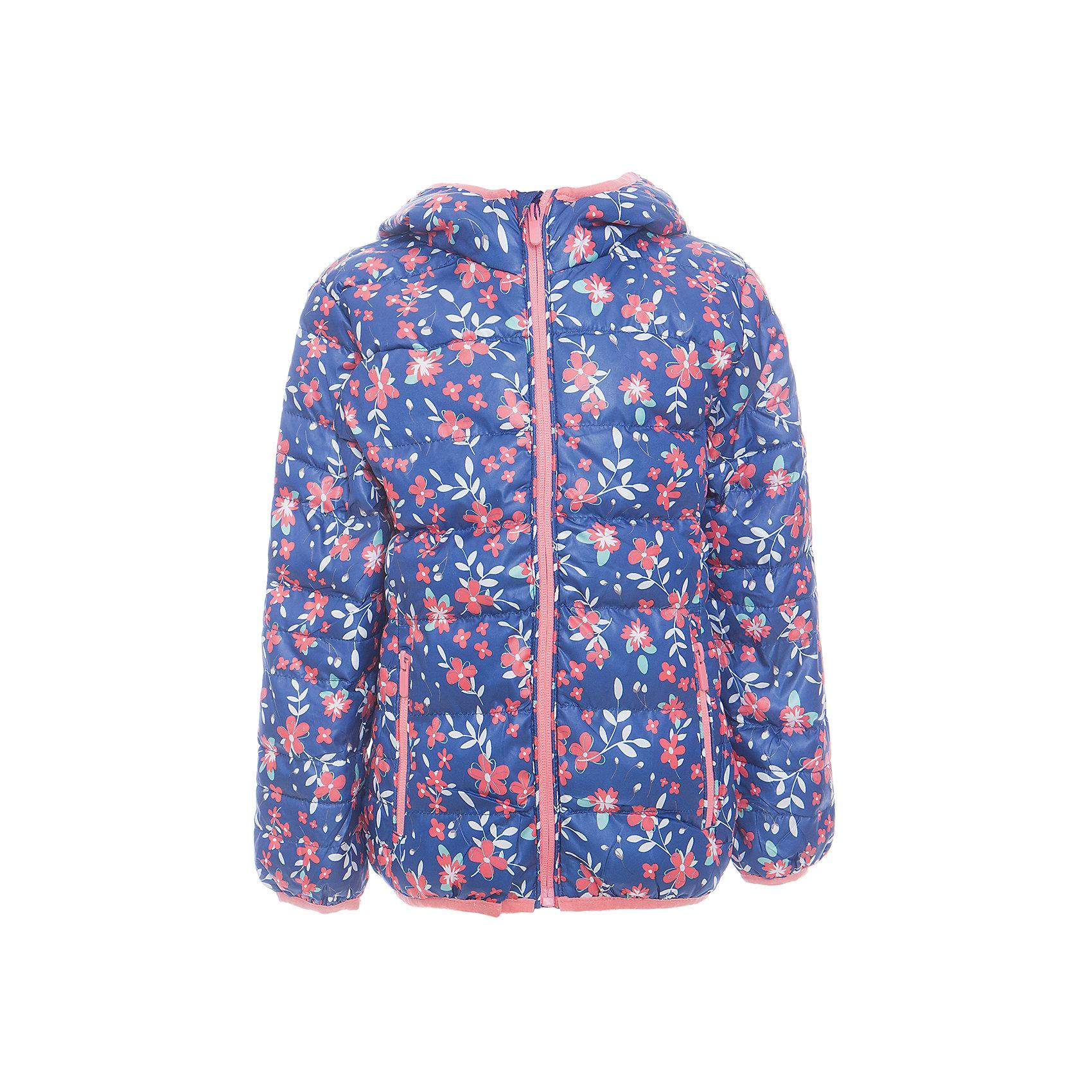 Куртка для девочки Sweet BerryДемисезонные куртки<br>Утепленная, стеганая куртка с цветочным принтом для девочки. Цельнокроеный капюшон, два прорезных карманы на молнии. Капюшон и  рукава оформлены контрастной окантовочной резинкой.<br>Состав:<br>Верх: 100%полиэстер. Подкладка: 65%хлопок 35%полиэстер. Наполнитель: 100%полиэстер<br><br>Ширина мм: 356<br>Глубина мм: 10<br>Высота мм: 245<br>Вес г: 519<br>Цвет: синий<br>Возраст от месяцев: 60<br>Возраст до месяцев: 72<br>Пол: Женский<br>Возраст: Детский<br>Размер: 104,98,116,122,128,110<br>SKU: 5412191