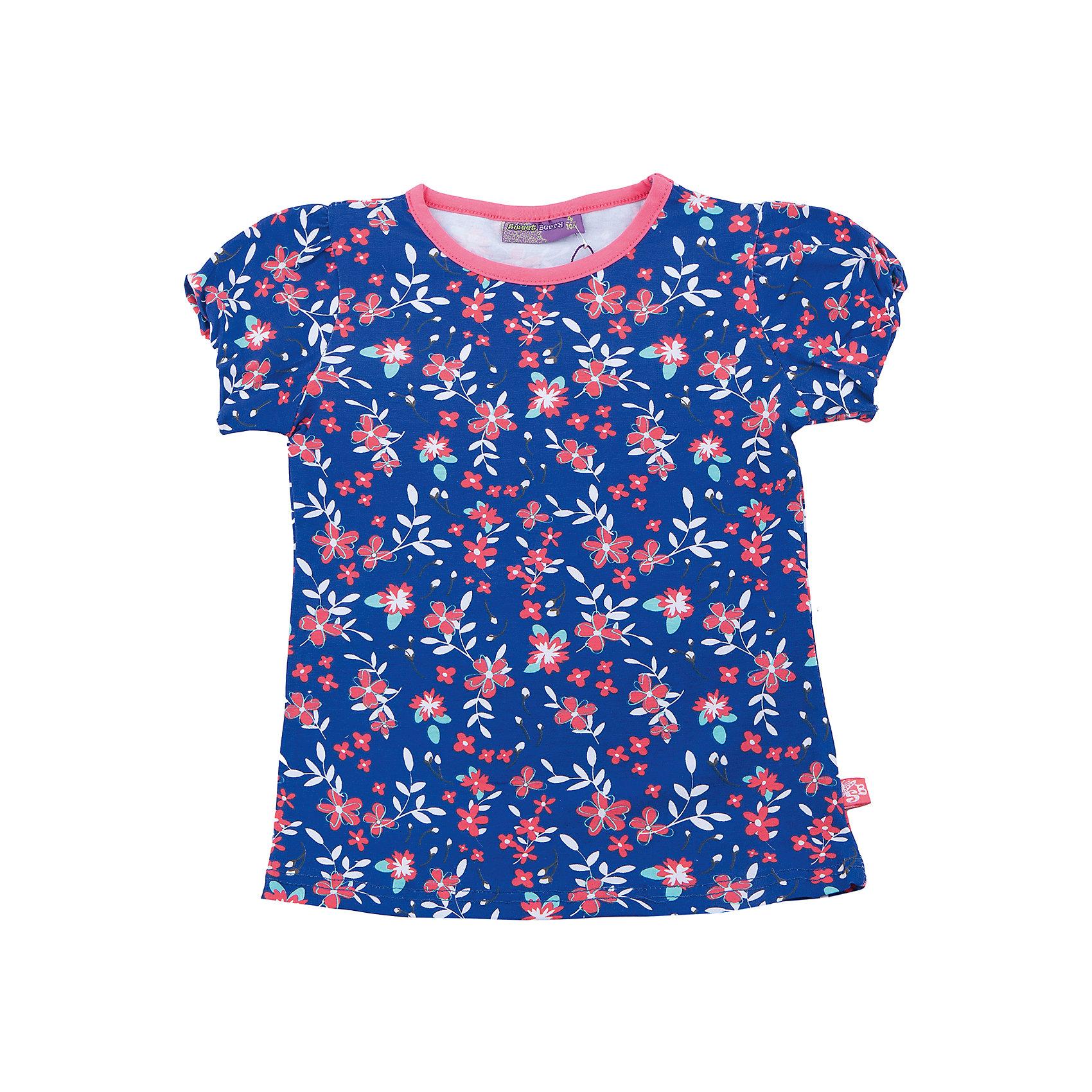 Футболка для девочки Sweet BerryФутболки, поло и топы<br>Трикотажная футболка для девочки с цветочным принтом. Приталенный крой. Короткие рукава.<br>Состав:<br>95%хлопок 5%эластан<br><br>Ширина мм: 199<br>Глубина мм: 10<br>Высота мм: 161<br>Вес г: 151<br>Цвет: синий<br>Возраст от месяцев: 36<br>Возраст до месяцев: 48<br>Пол: Женский<br>Возраст: Детский<br>Размер: 104,98,110,116,122,128<br>SKU: 5412265