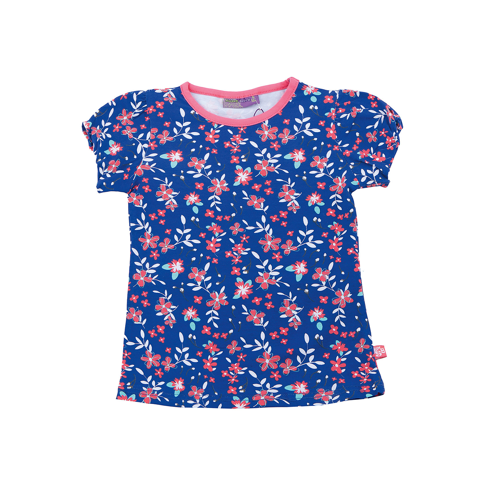 Футболка для девочки Sweet BerryТрикотажная футболка для девочки с цветочным принтом. Приталенный крой. Короткие рукава.<br>Состав:<br>95%хлопок 5%эластан<br><br>Ширина мм: 199<br>Глубина мм: 10<br>Высота мм: 161<br>Вес г: 151<br>Цвет: синий<br>Возраст от месяцев: 36<br>Возраст до месяцев: 48<br>Пол: Женский<br>Возраст: Детский<br>Размер: 104,98,110,116,122,128<br>SKU: 5412265