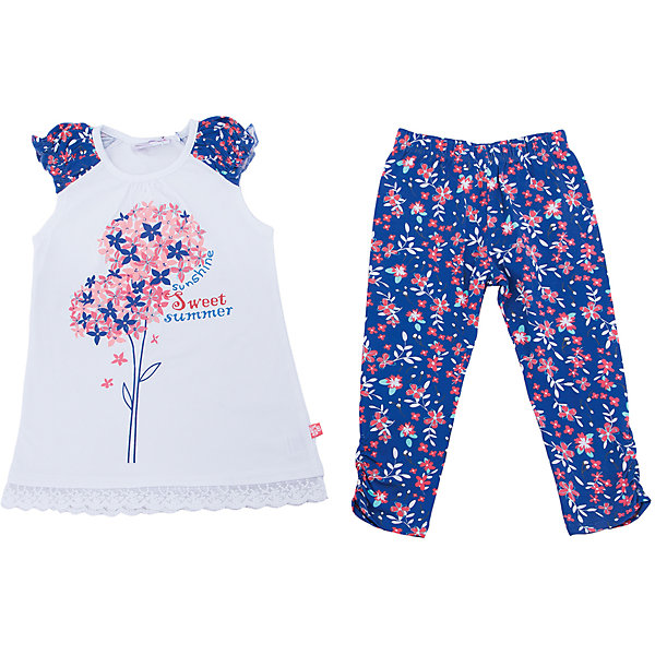 Комплект: футболка и леггинсы для девочки Sweet BerryКомплекты<br>Трикотажный комплект для девочки. Удлиненная футболка с цветочным рисунком, свободный крой. Лосины принтованы цветочным рисунком в тон футболке. Эластичный пояс.<br>Состав:<br>95%хлопок 5%эластан<br><br>Ширина мм: 123<br>Глубина мм: 10<br>Высота мм: 149<br>Вес г: 209<br>Цвет: белый<br>Возраст от месяцев: 60<br>Возраст до месяцев: 72<br>Пол: Женский<br>Возраст: Детский<br>Размер: 116,110,98,104,128,122<br>SKU: 5412286
