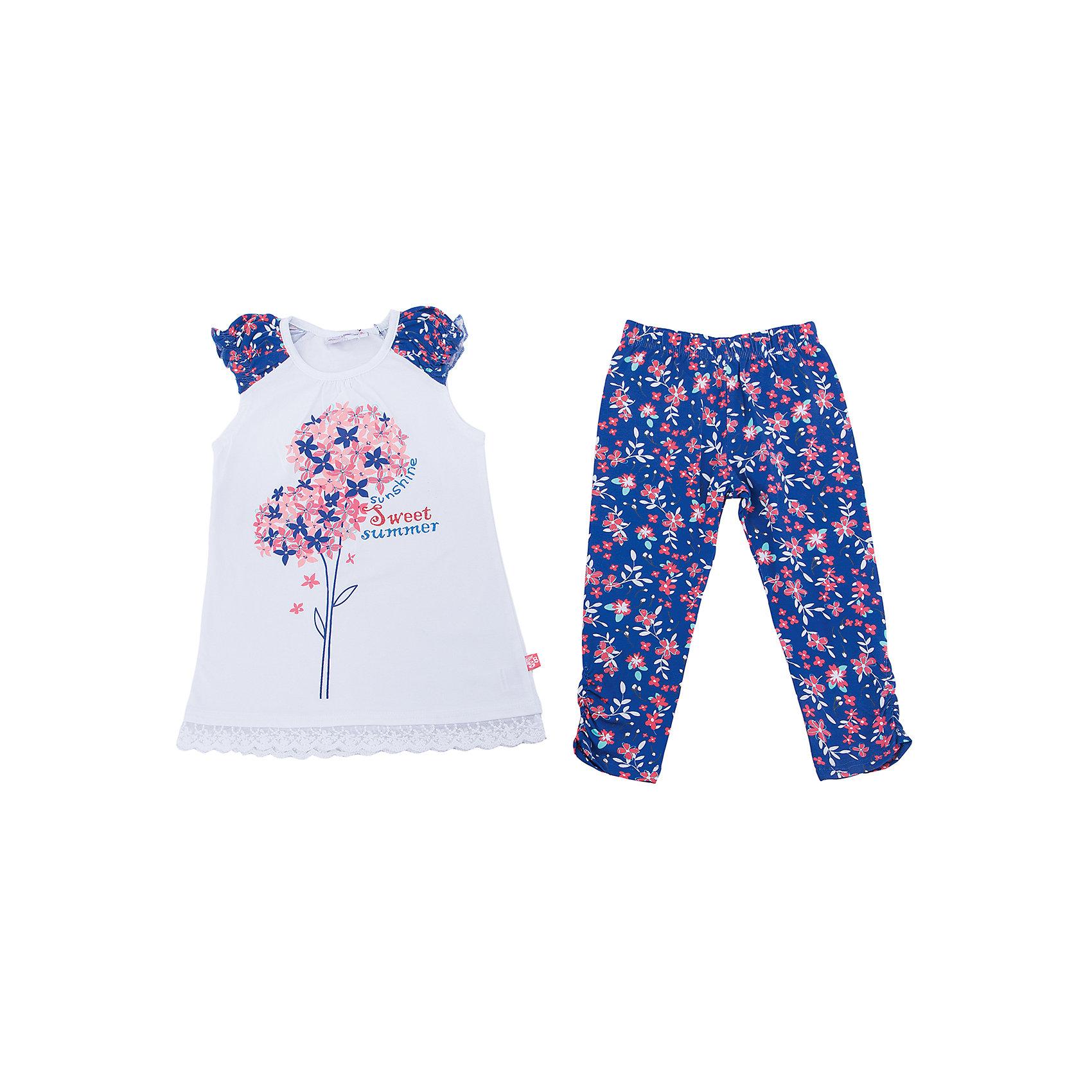 Комплект: футболка и леггинсы для девочки Sweet BerryКомплекты<br>Трикотажный комплект для девочки. Удлиненная футболка с цветочным рисунком, свободный крой. Лосины принтованы цветочным рисунком в тон футболке. Эластичный пояс.<br>Состав:<br>95%хлопок 5%эластан<br><br>Ширина мм: 123<br>Глубина мм: 10<br>Высота мм: 149<br>Вес г: 209<br>Цвет: белый<br>Возраст от месяцев: 36<br>Возраст до месяцев: 48<br>Пол: Женский<br>Возраст: Детский<br>Размер: 104,98,110,116,122,128<br>SKU: 5412286