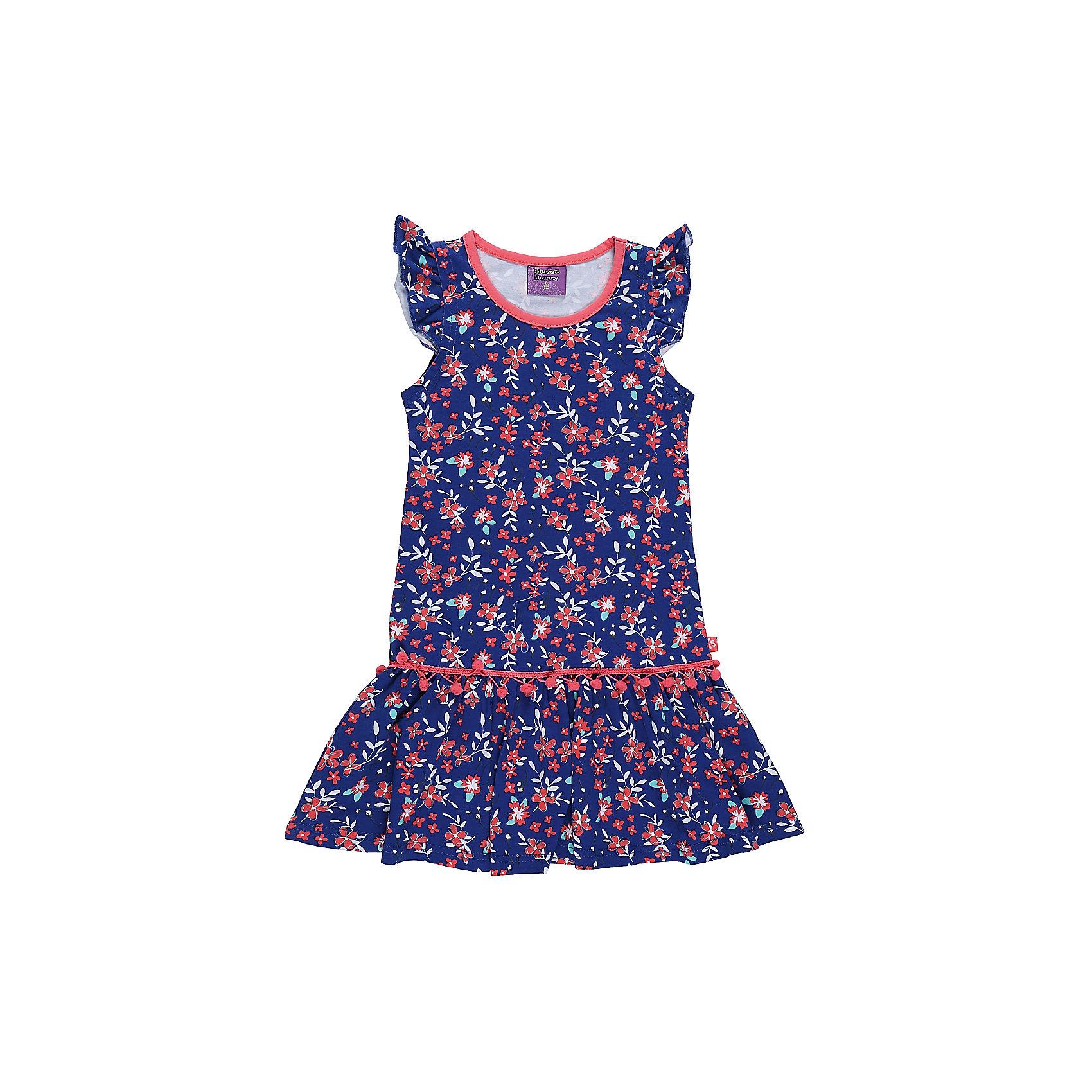 Платье для девочки Sweet BerryПлатье из трикотажной принтованной ткани. Рукава-крылышки. Горловина выполнена из контрастной ткани.<br>Состав:<br>95%хлопок 5%эластан<br><br>Ширина мм: 236<br>Глубина мм: 16<br>Высота мм: 184<br>Вес г: 177<br>Цвет: синий<br>Возраст от месяцев: 36<br>Возраст до месяцев: 48<br>Пол: Женский<br>Возраст: Детский<br>Размер: 104,98,110,116,122,128<br>SKU: 5412347