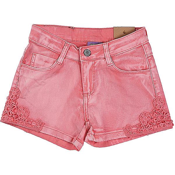 Шорты для девочки Sweet BerryШорты, бриджи, капри<br>Коралловые джинсовые шорты для девочки. Низ брючен декорирован кружевным плетением.  В боковой части пояса находятся вшитые эластичные ленты, регулирующие посадку по талии.<br>Состав:<br>98%хлопок 2%эластан<br>Ширина мм: 191; Глубина мм: 10; Высота мм: 175; Вес г: 273; Цвет: розовый; Возраст от месяцев: 24; Возраст до месяцев: 36; Пол: Женский; Возраст: Детский; Размер: 98,104,128,122,116,110; SKU: 5412418;