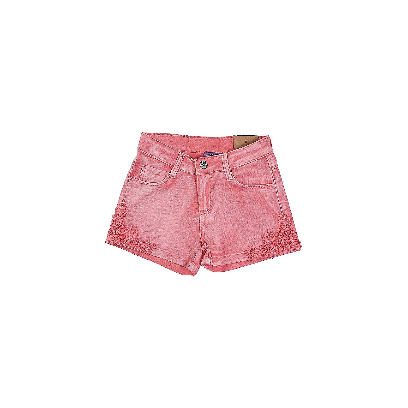 Шорты для девочки Sweet BerryШорты, бриджи, капри<br>Коралловые джинсовые шорты для девочки. Низ брючен декорирован кружевным плетением.  В боковой части пояса находятся вшитые эластичные ленты, регулирующие посадку по талии.<br>Состав:<br>98%хлопок 2%эластан<br><br>Ширина мм: 191<br>Глубина мм: 10<br>Высота мм: 175<br>Вес г: 273<br>Цвет: розовый<br>Возраст от месяцев: 36<br>Возраст до месяцев: 48<br>Пол: Женский<br>Возраст: Детский<br>Размер: 104,98,110,116,122,128<br>SKU: 5412418