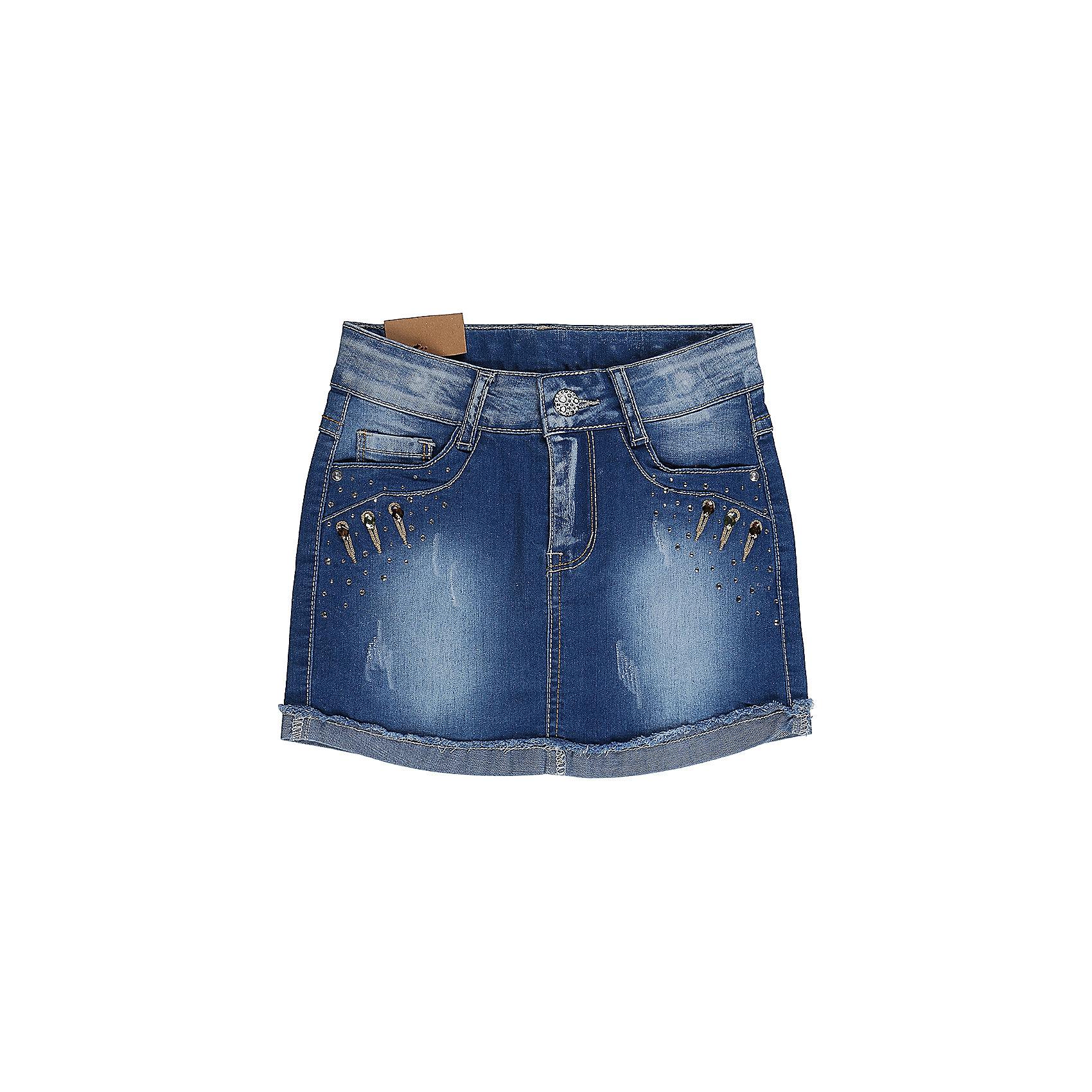 Юбка джинсовая для девочки Sweet BerryДжинсовая одежда<br>Джинсовая юбка для девочки. Карманы декорированы крупными стразами. Пояс с регулировкой внутренней резинкой.<br>Состав:<br>98%хлопок 2%эластан<br><br>Ширина мм: 207<br>Глубина мм: 10<br>Высота мм: 189<br>Вес г: 183<br>Цвет: синий<br>Возраст от месяцев: 36<br>Возраст до месяцев: 48<br>Пол: Женский<br>Возраст: Детский<br>Размер: 104,122,128,98,110,116<br>SKU: 5412457